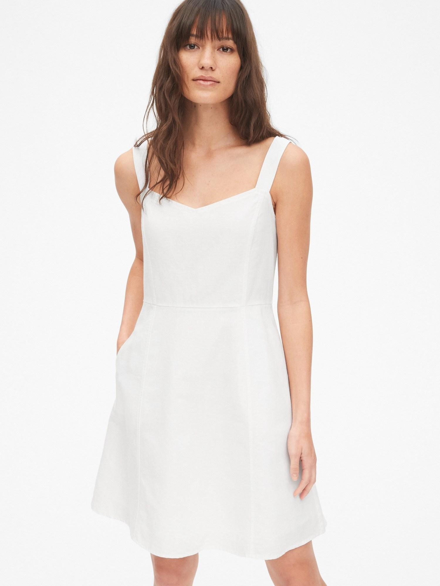 71f648f199 Gap Fit And Flare Cami Dress In Linen-cotton in White - Lyst