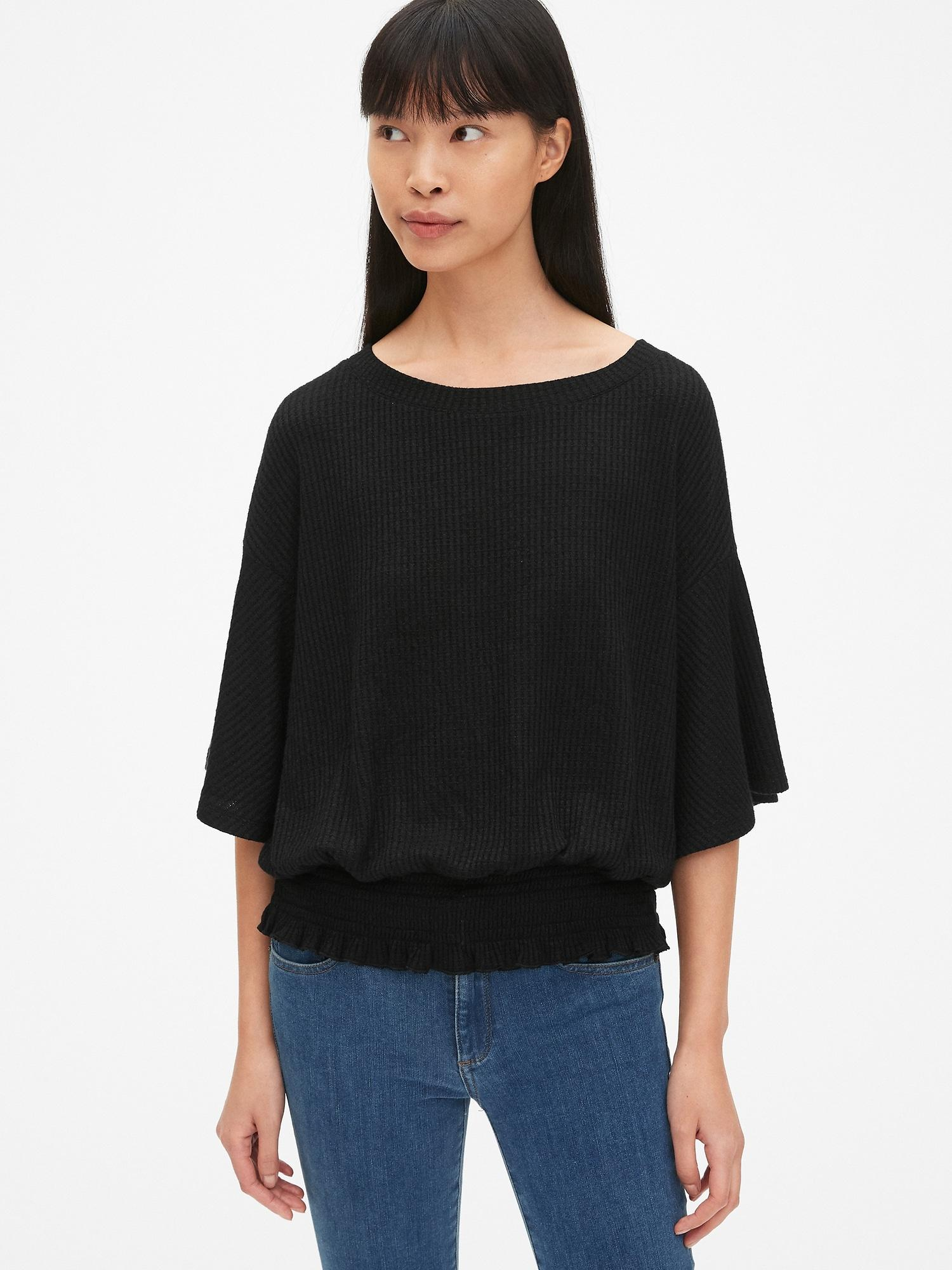 4f1c31aeace5e Lyst - Gap Softspun Waffle-knit Smocked Short Sleeve Top in Black