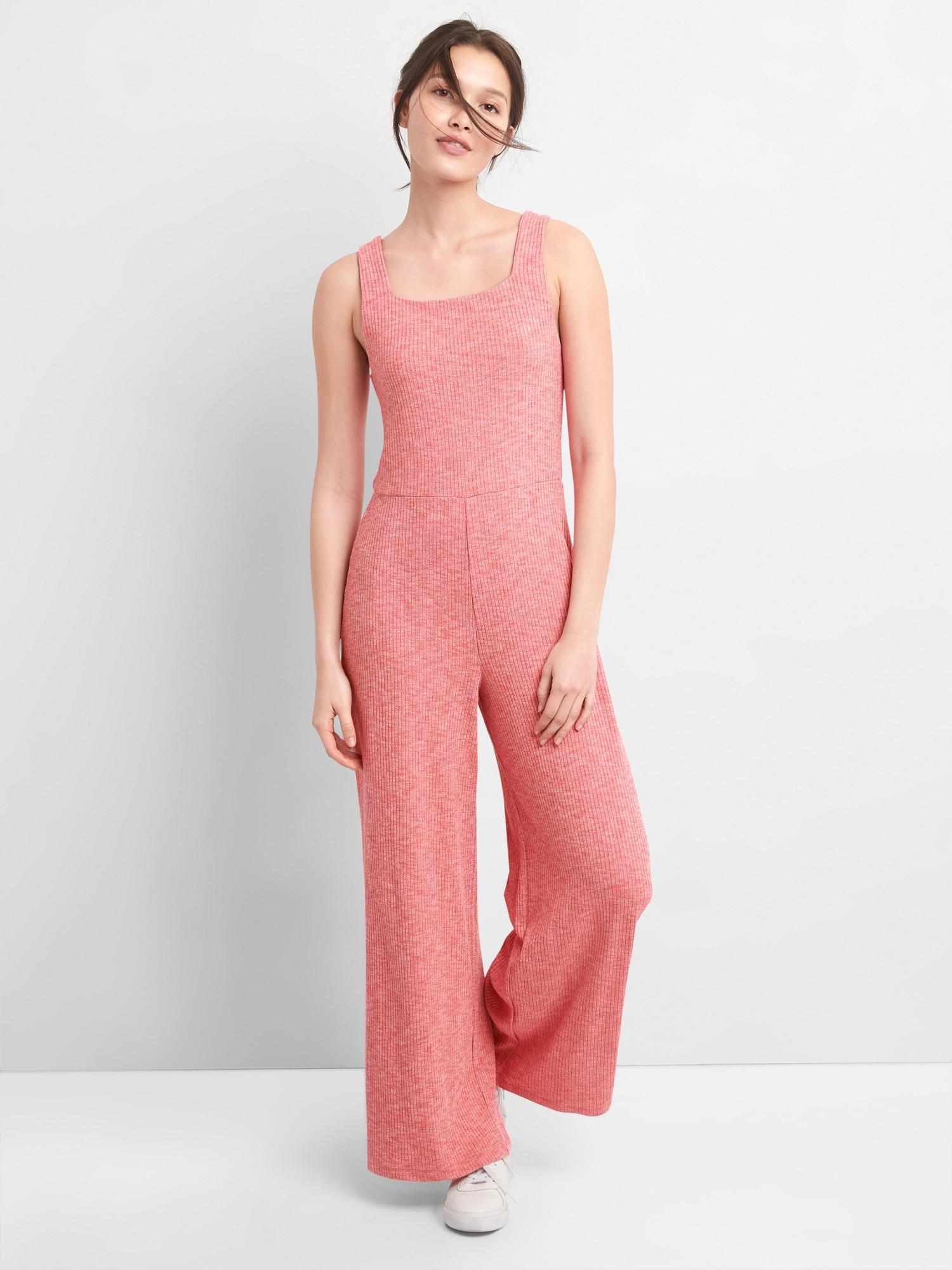 37bc09ca50f Lyst - Gap Ribbed Softspun Square-neck Jumpsuit in Pink