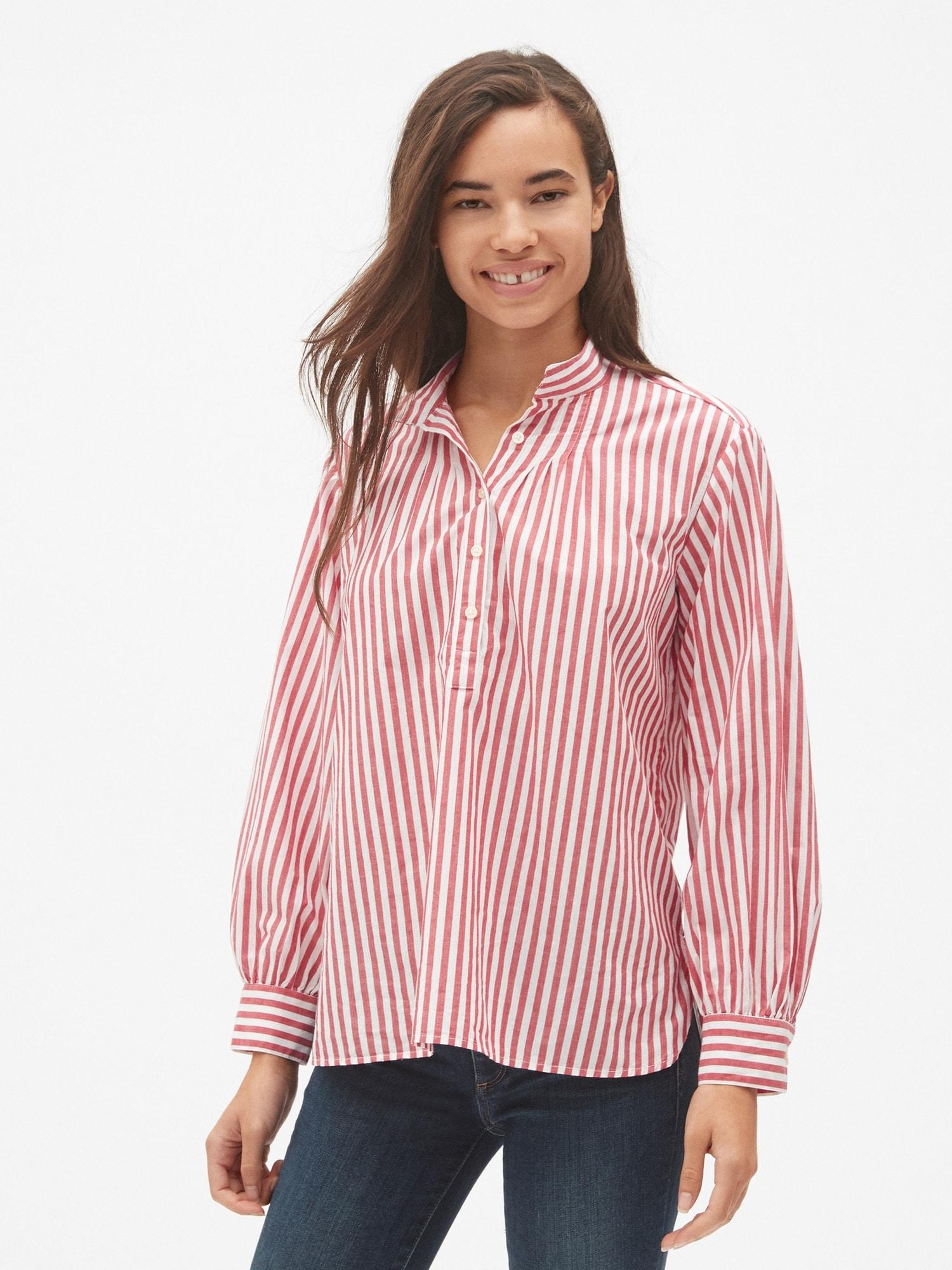 e8e1f531b34af8 Lyst - Gap Stripe Shirred Popover Shirt in Red