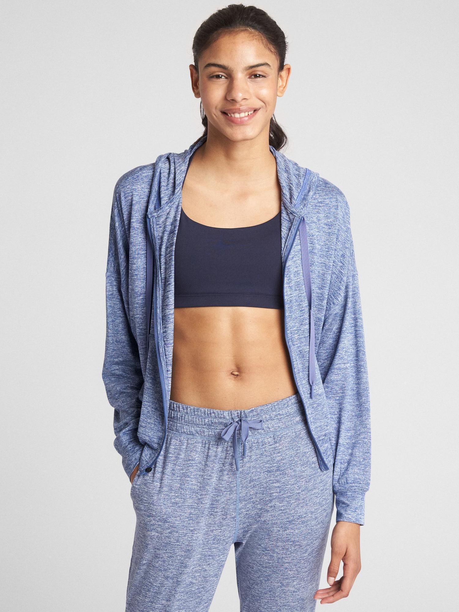 Lyst Gap Fit Full Zip Hoodie In Brushed Tech Jersey Blue