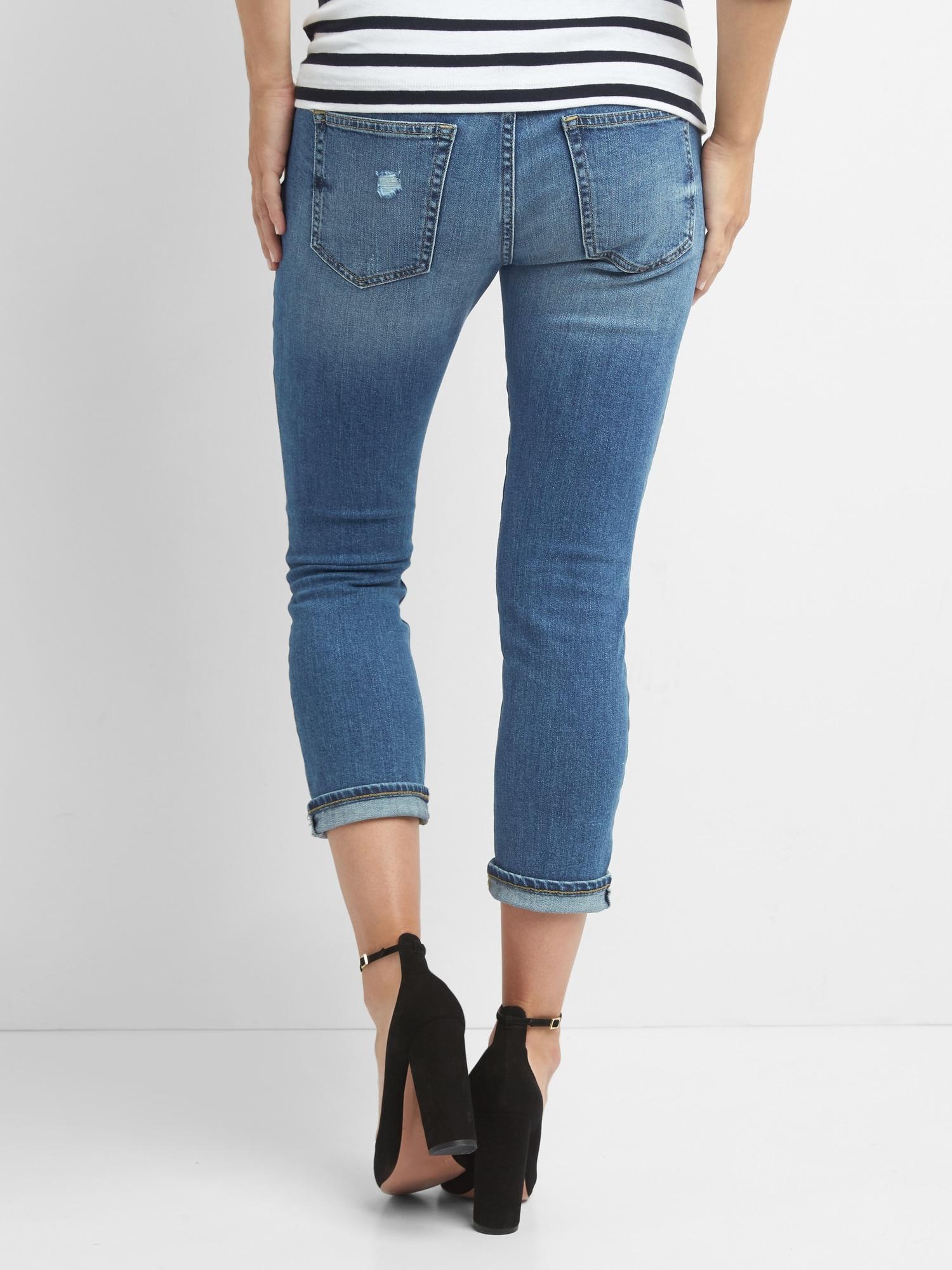 6bad3416d5de2 Gap Maternity Demi Panel Distressed Best Girlfriend Jeans in Blue - Lyst