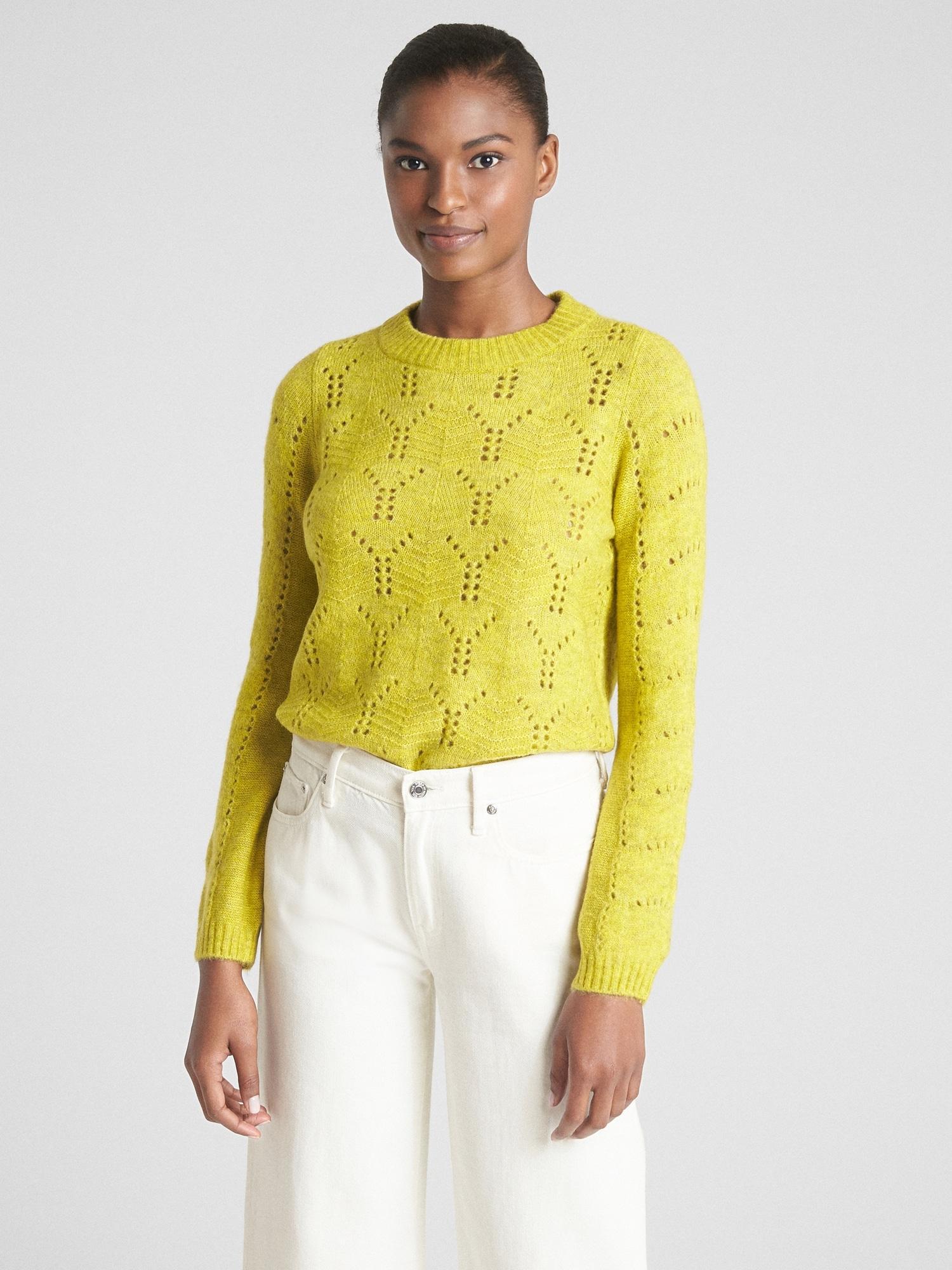 113e0e6c8 Lyst - Gap Pointelle Crewneck Pullover Sweater in Yellow