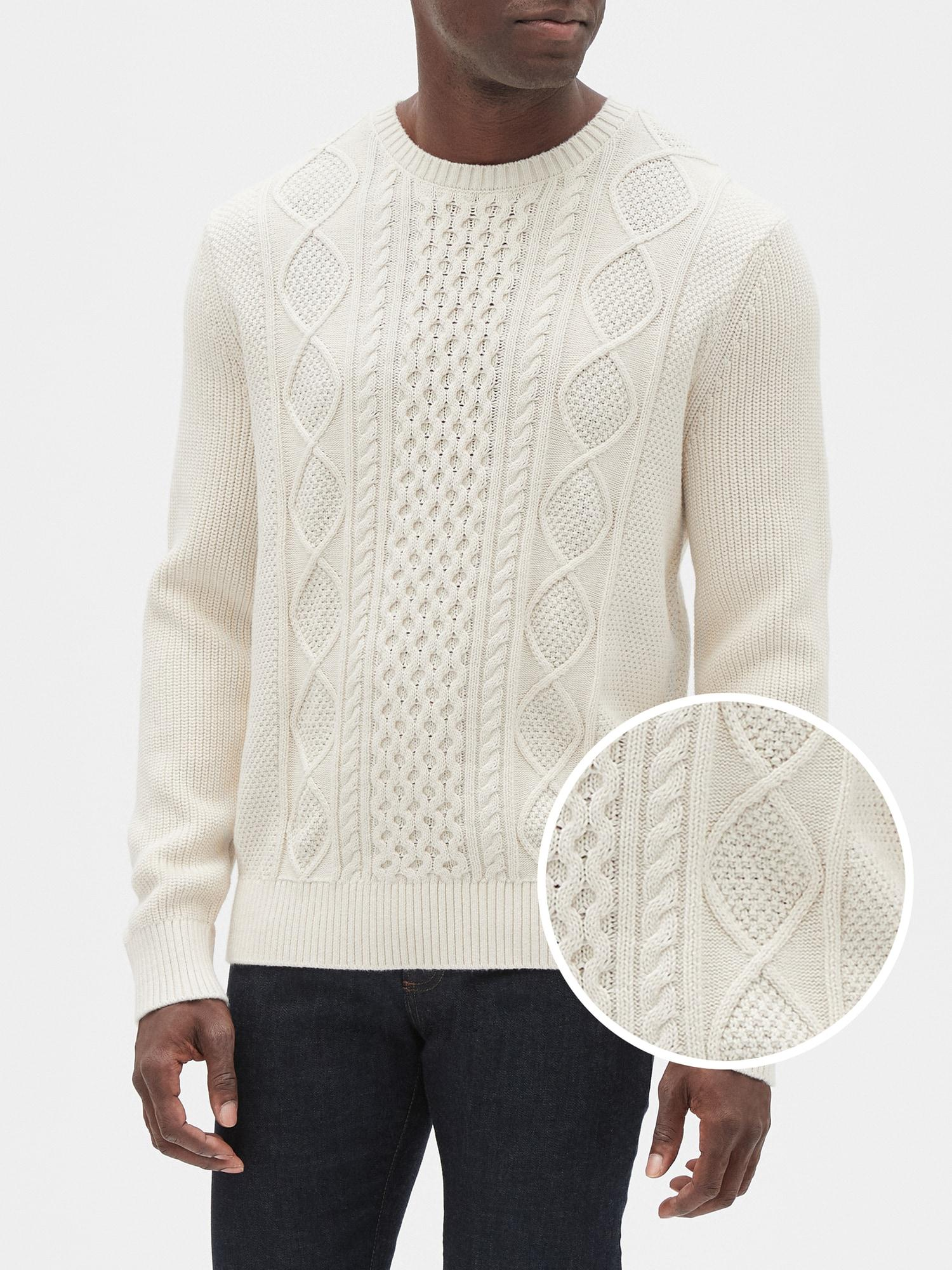 Lyst - GAP Factory Cable-knit Crewneck Pullover Sweater in White for Men 166f50836