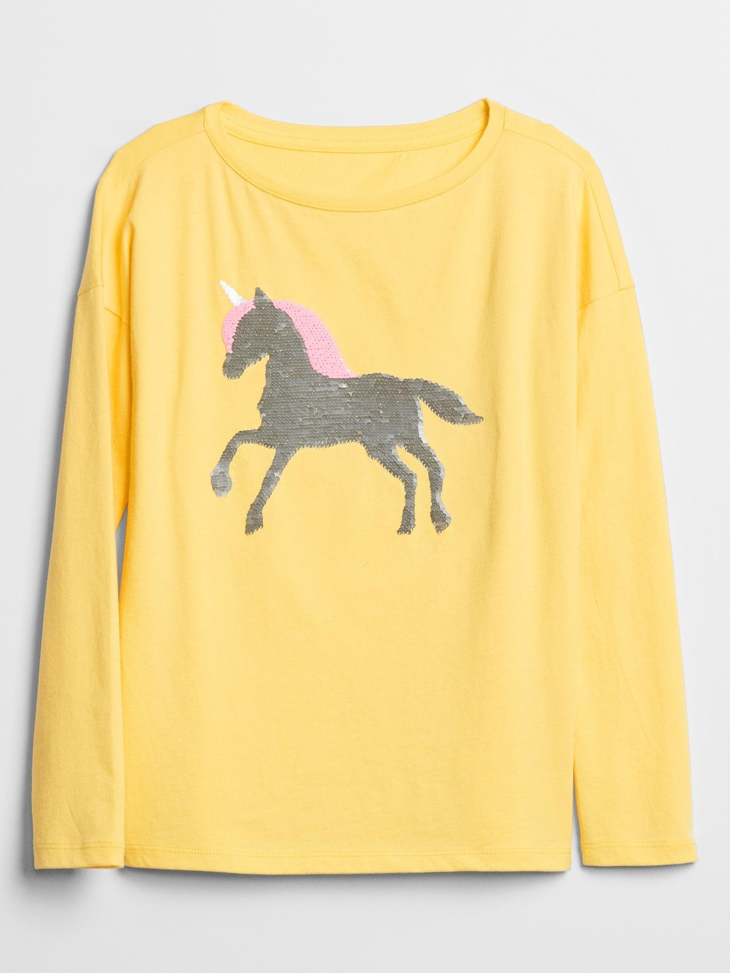 b094525ea Lyst - GAP Factory Kids Flippy Sequin Long Sleeve Graphic T-shirt