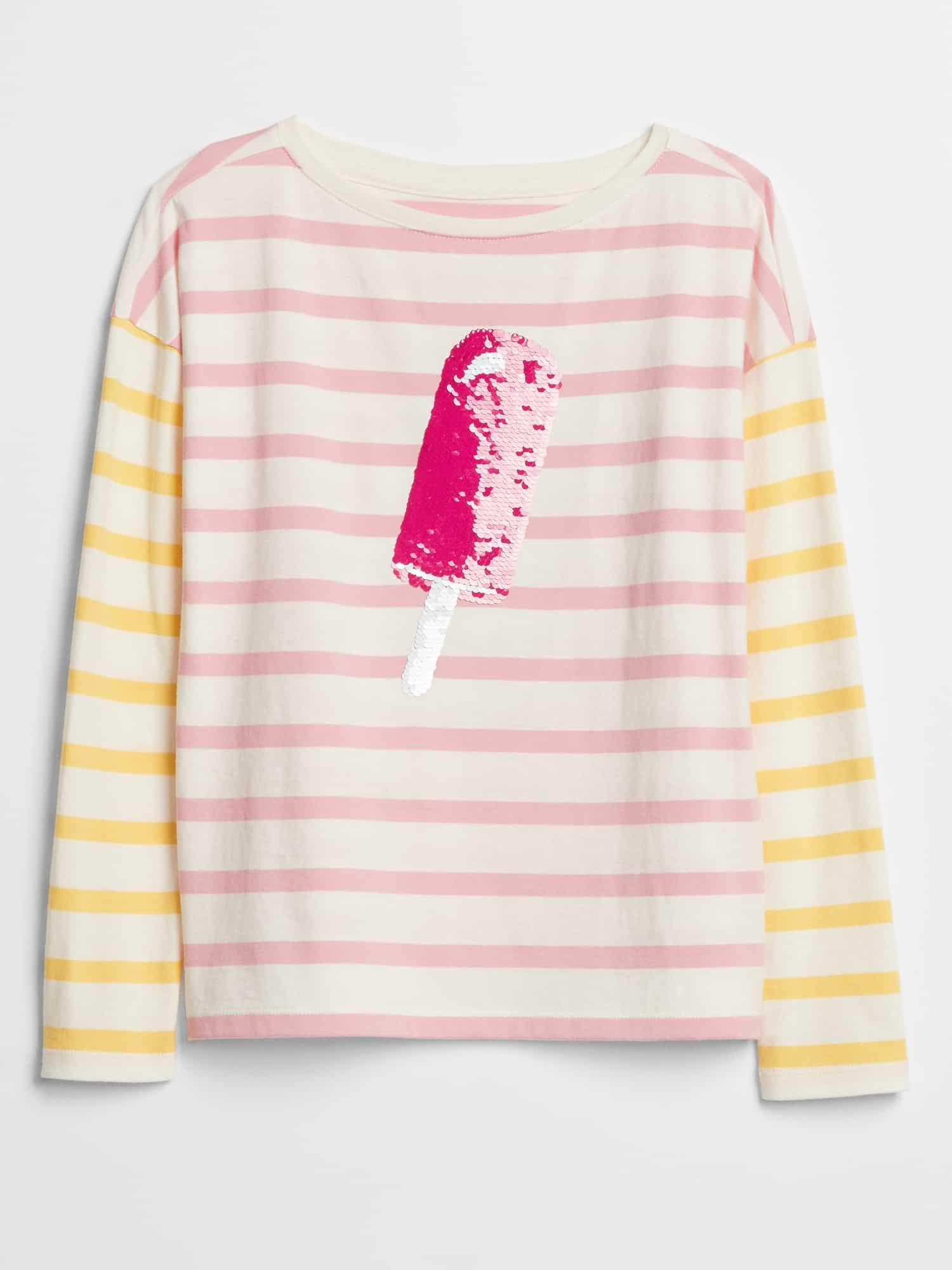 df4f455eb GAP Factory. Women's Pink Kids Flippy Sequin Long Sleeve Graphic T-shirt