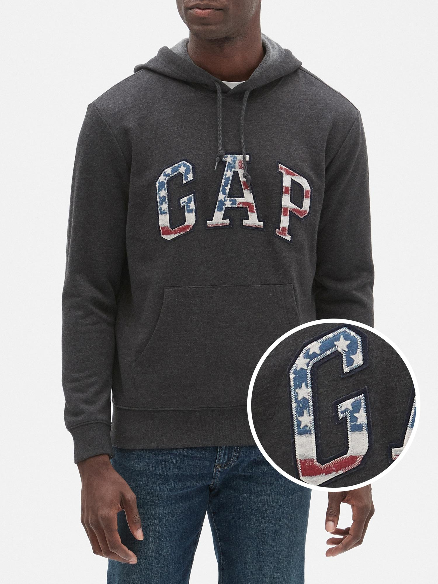 6c40dfff50e4 Lyst - GAP Factory Flag Arch Logo Hoodie in Gray for Men