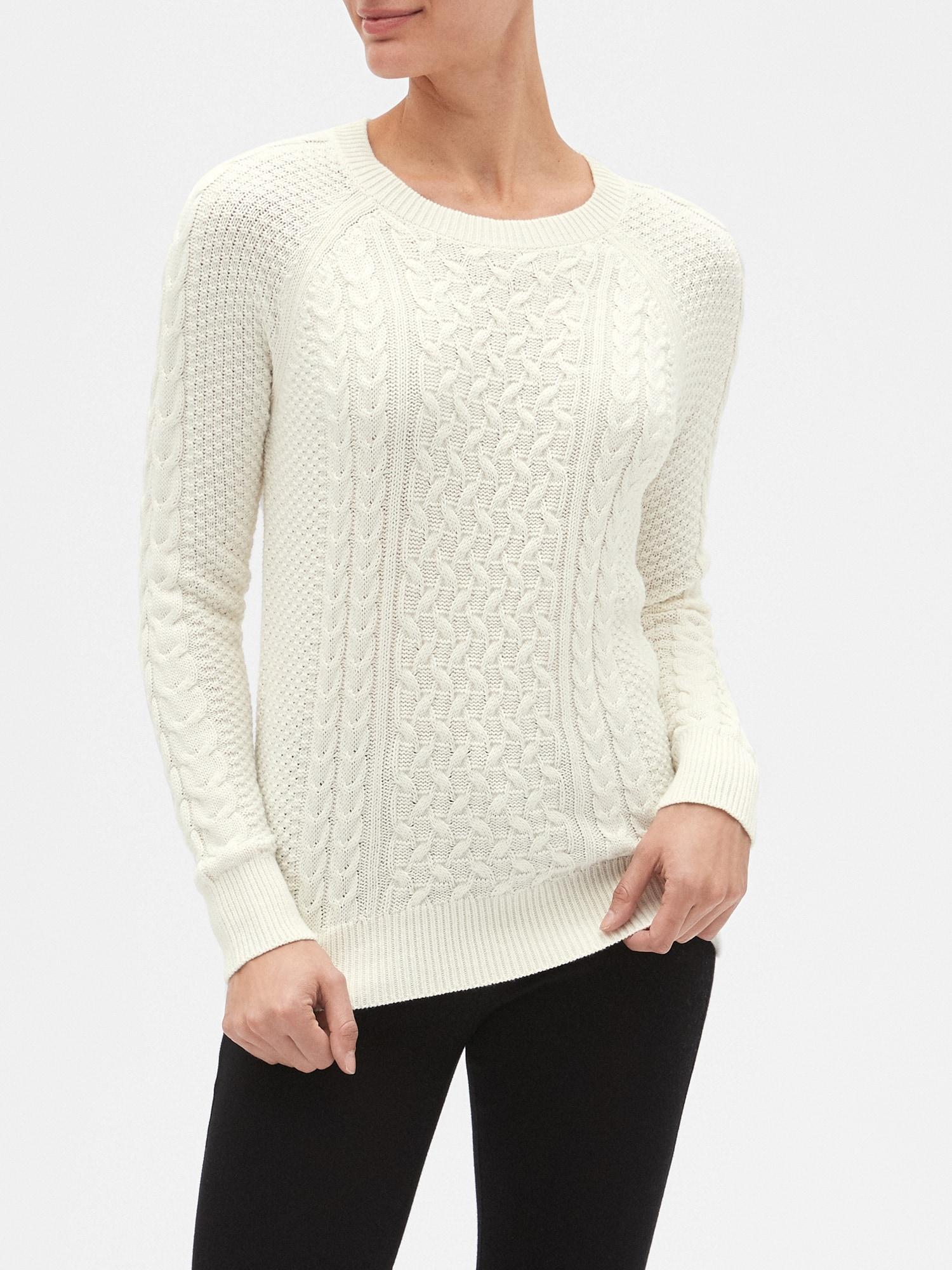 Lyst - GAP Factory Cable-knit Crewneck Pullover Sweater in White 063a1c697