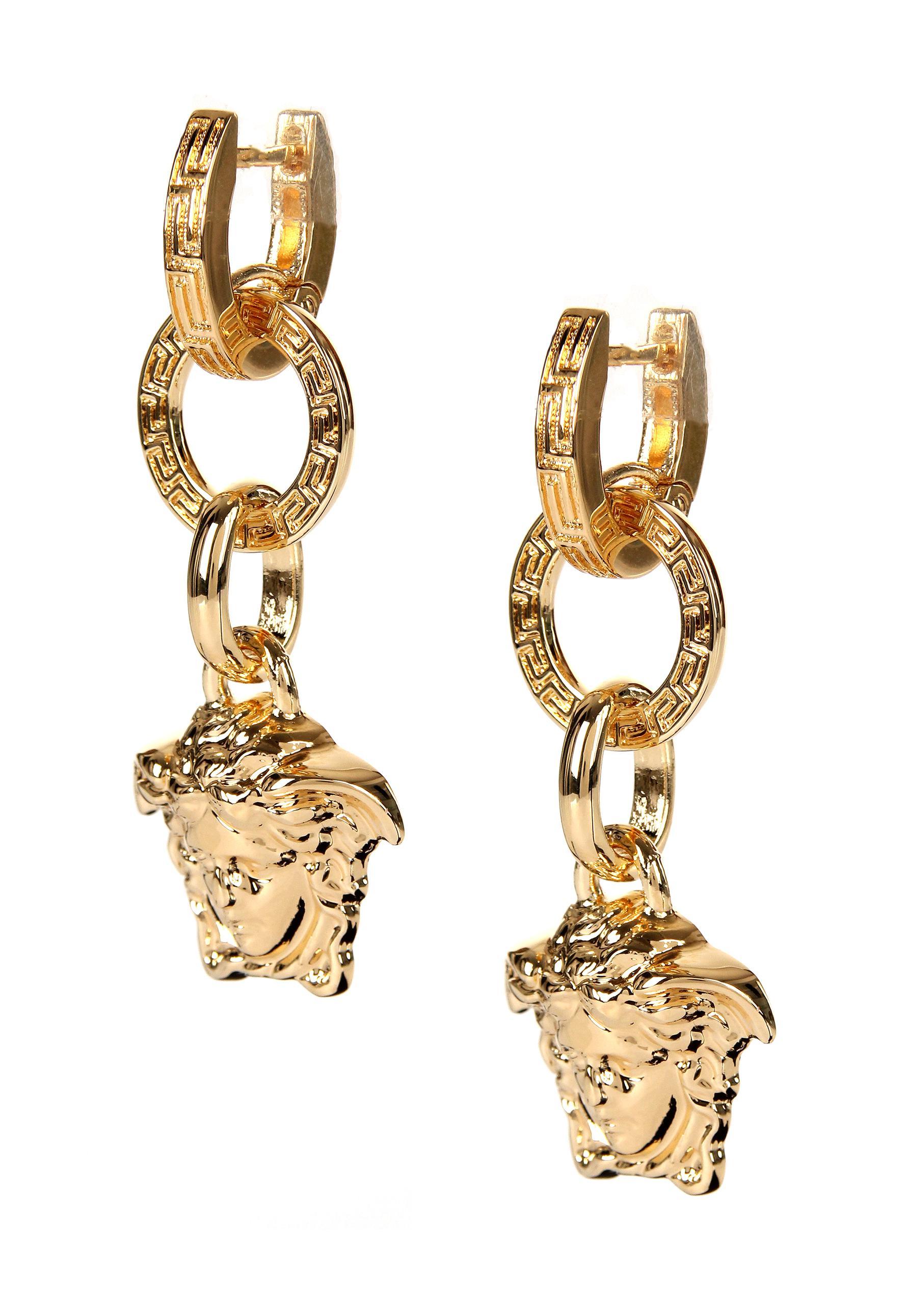 b7d2617fe Versace - Metallic Medusa Head Drop Earrings Gold - Lyst. View fullscreen