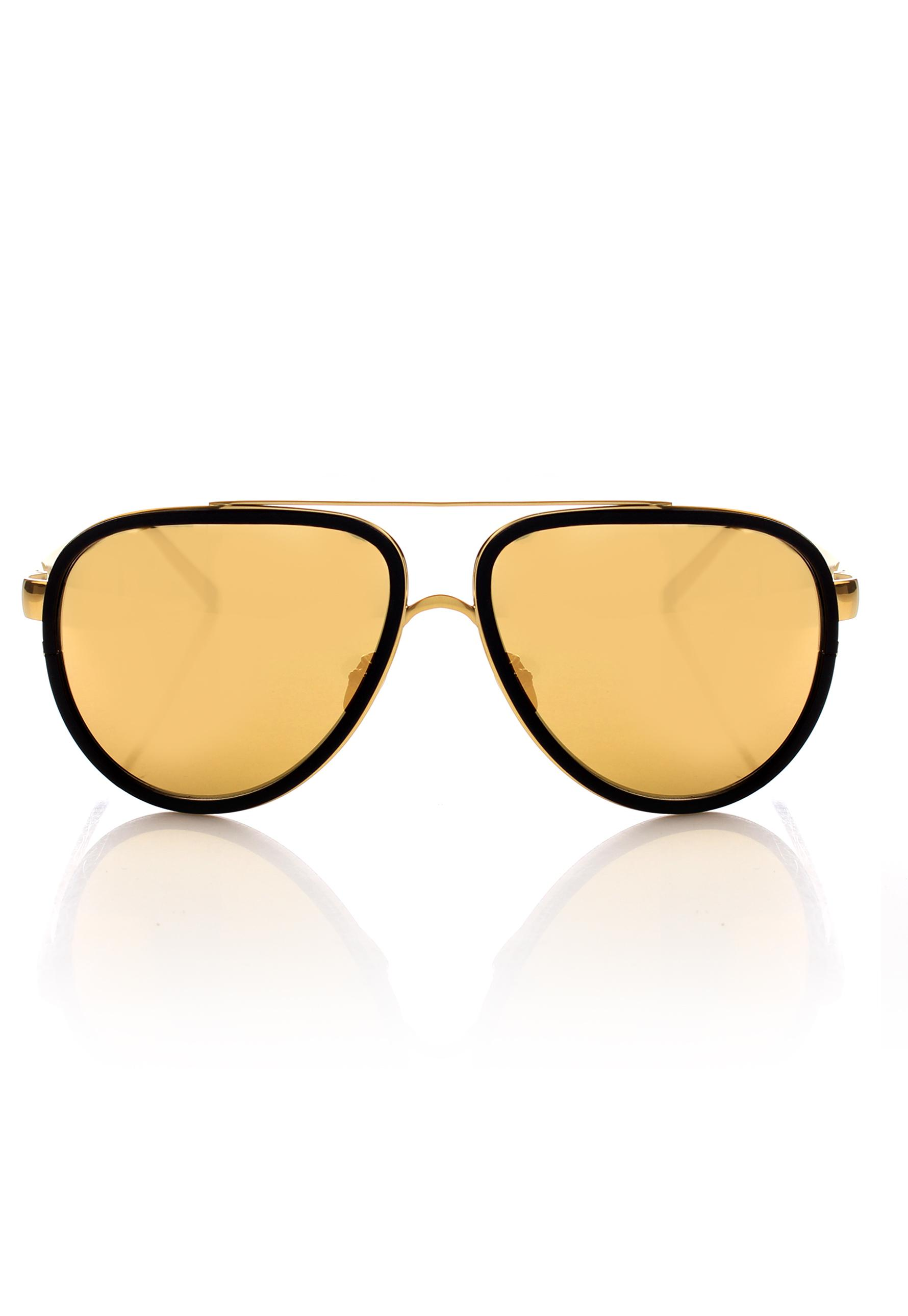 ea3806e38a7a Linda Farrow. Women s 22 Karat Gold Aviator 441 Sunglasses Black Aluminium  gold