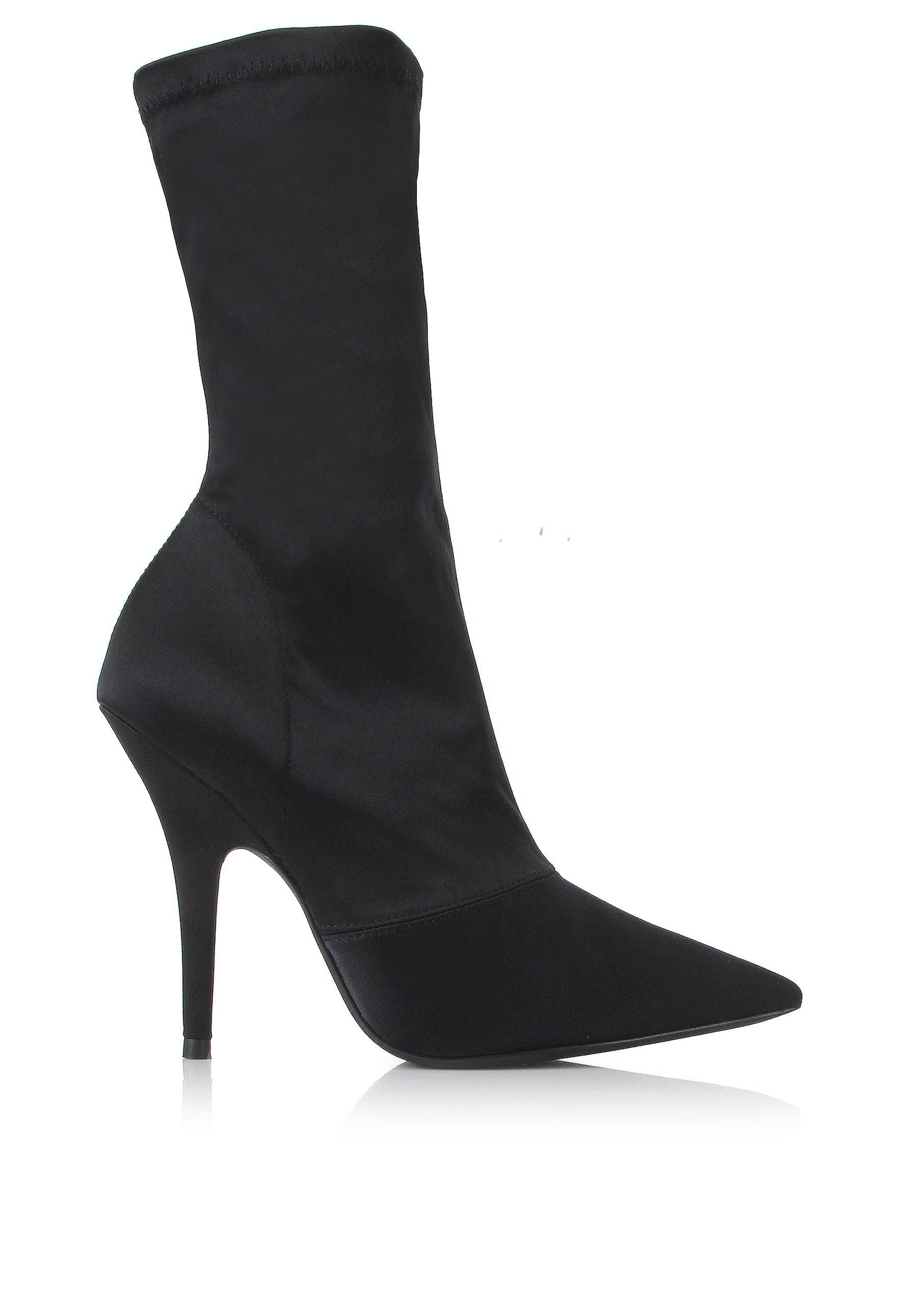 252b4896f43 Lyst - Yeezy Season 6 Stretch Satin Ankle Boots Black in Black