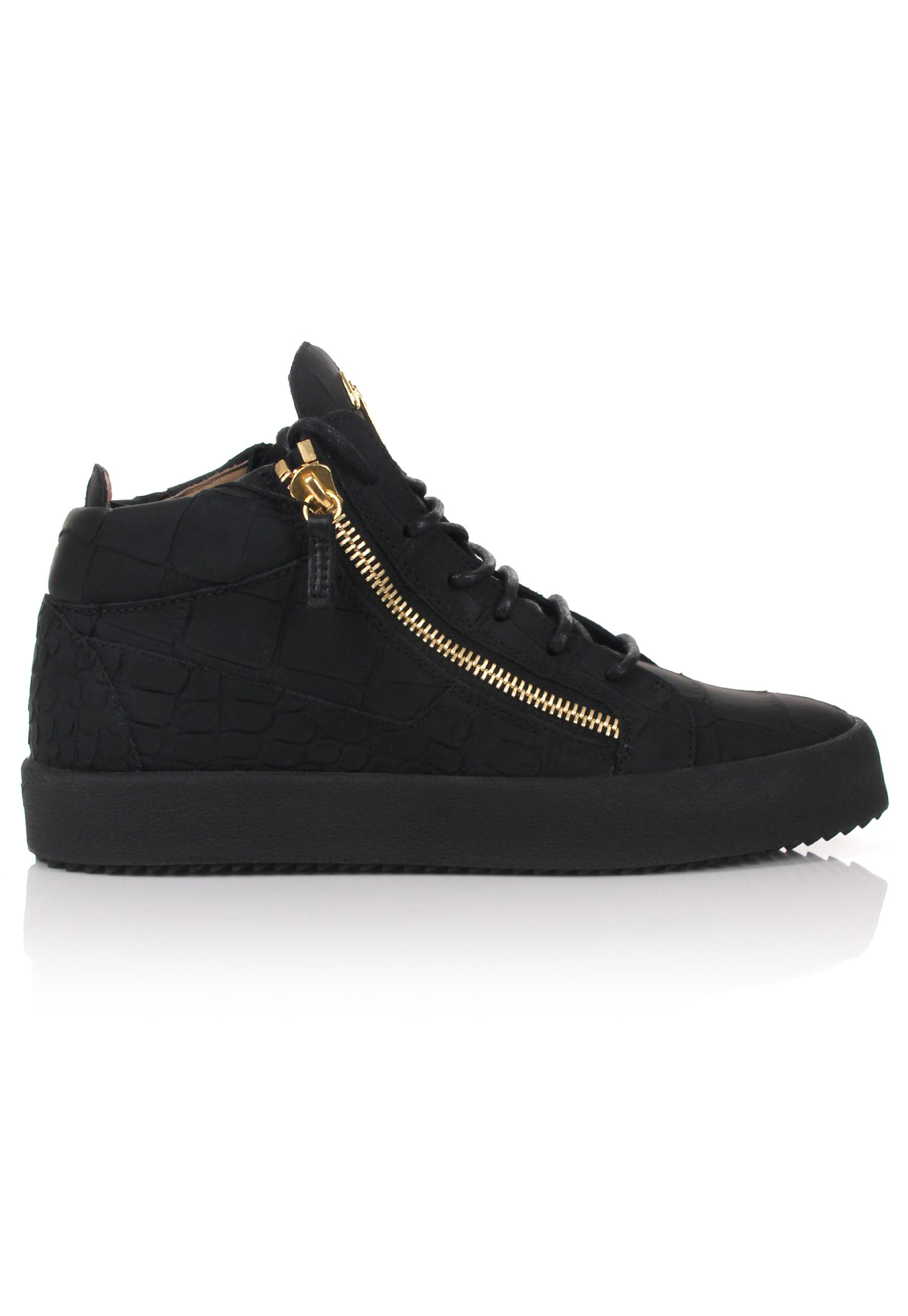 Giuseppe Zanotti Crocodile embossed patent leather mid-top sneaker KRISS 3f5NB