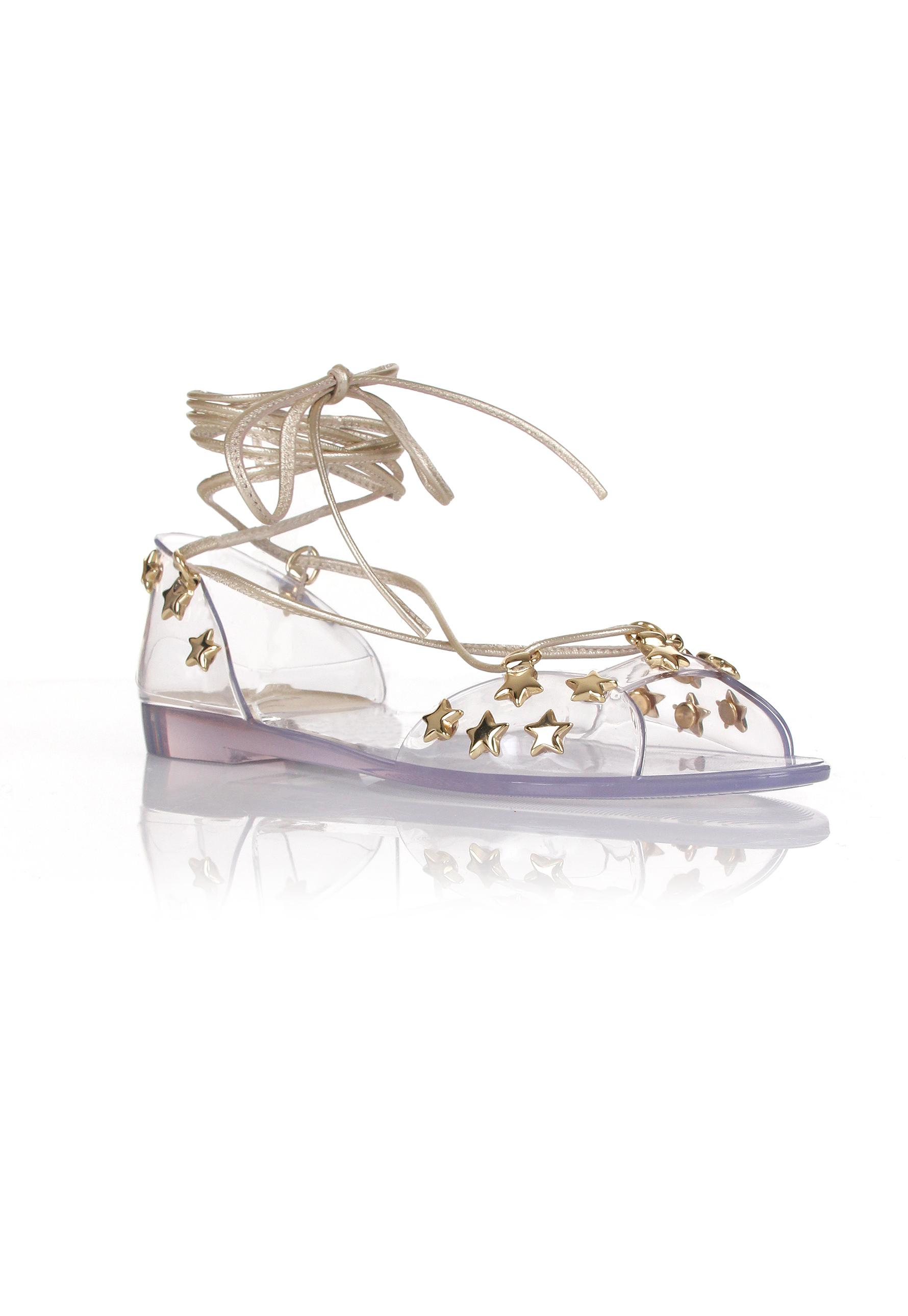 775fab55a7ea Lyst - Stuart Weitzman Jelly Glass Noodles Star Sandals Clear gold ...