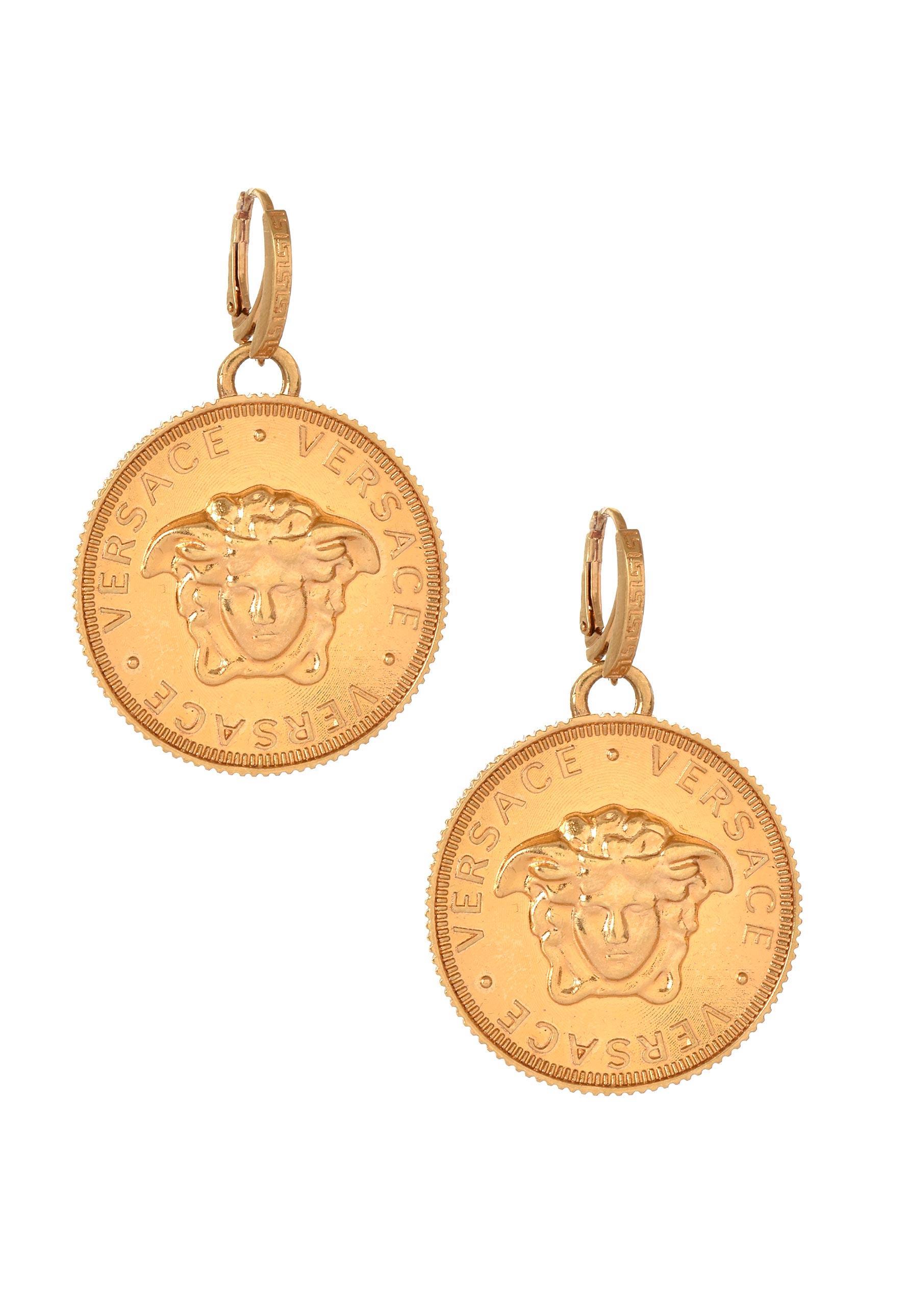 d2592d2d3 Versace Vintage Medusa Head Coin Earrings Tribute Gold in Metallic ...