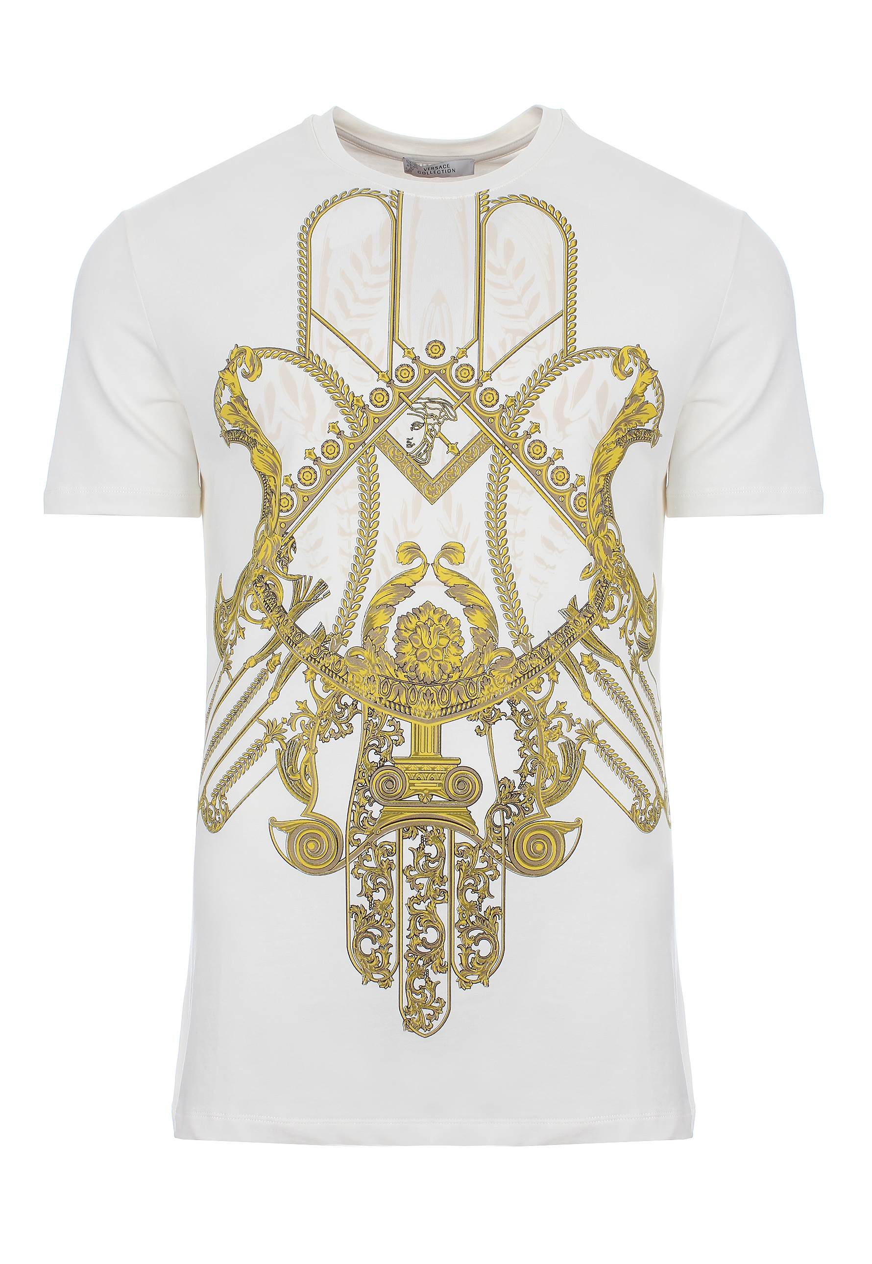 lyst versace hamsa hand print t shirt off white gold in metallic for men. Black Bedroom Furniture Sets. Home Design Ideas