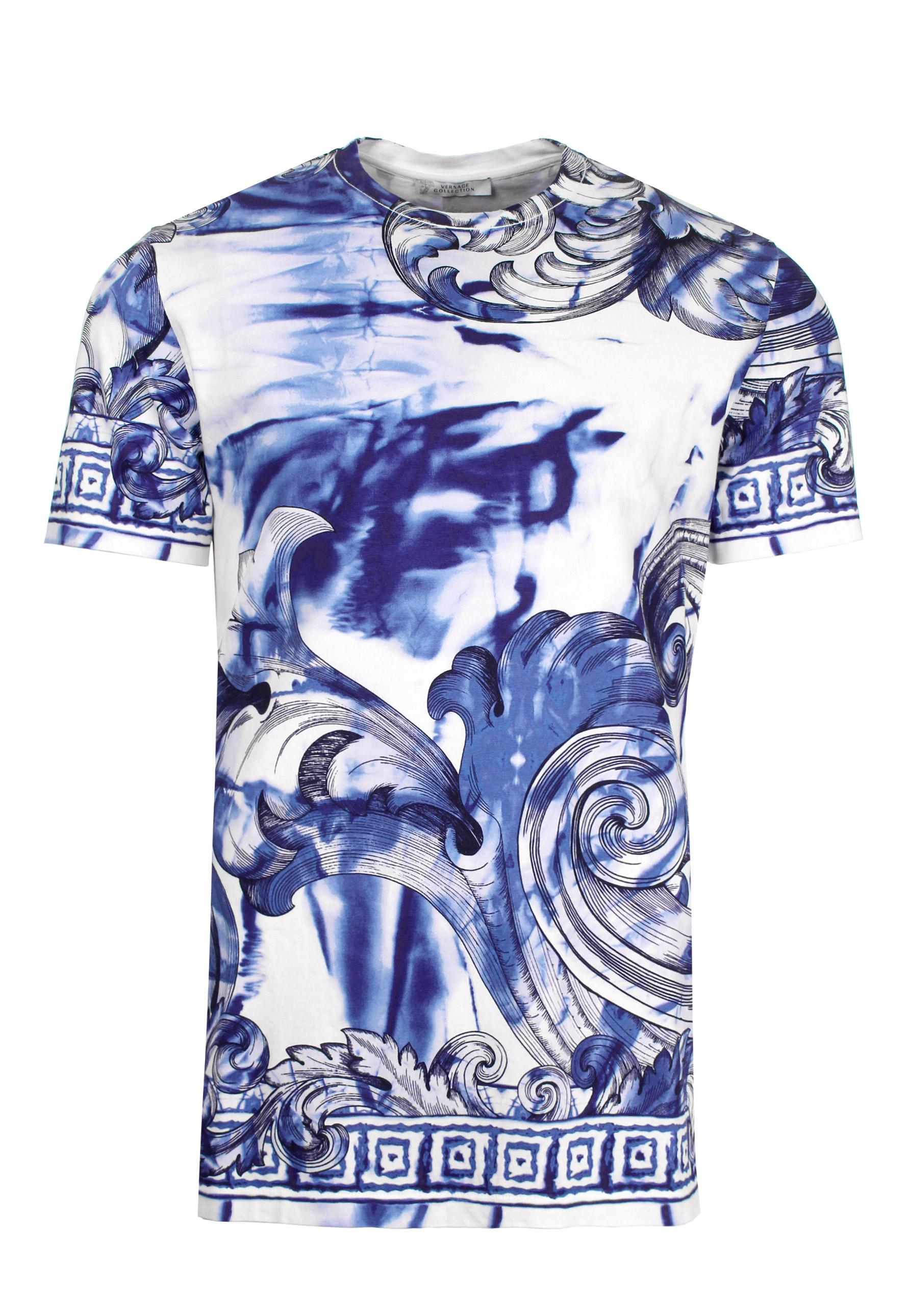 Lyst versace tie and dye baroque hand painted t shirt for Blue and white versace shirt