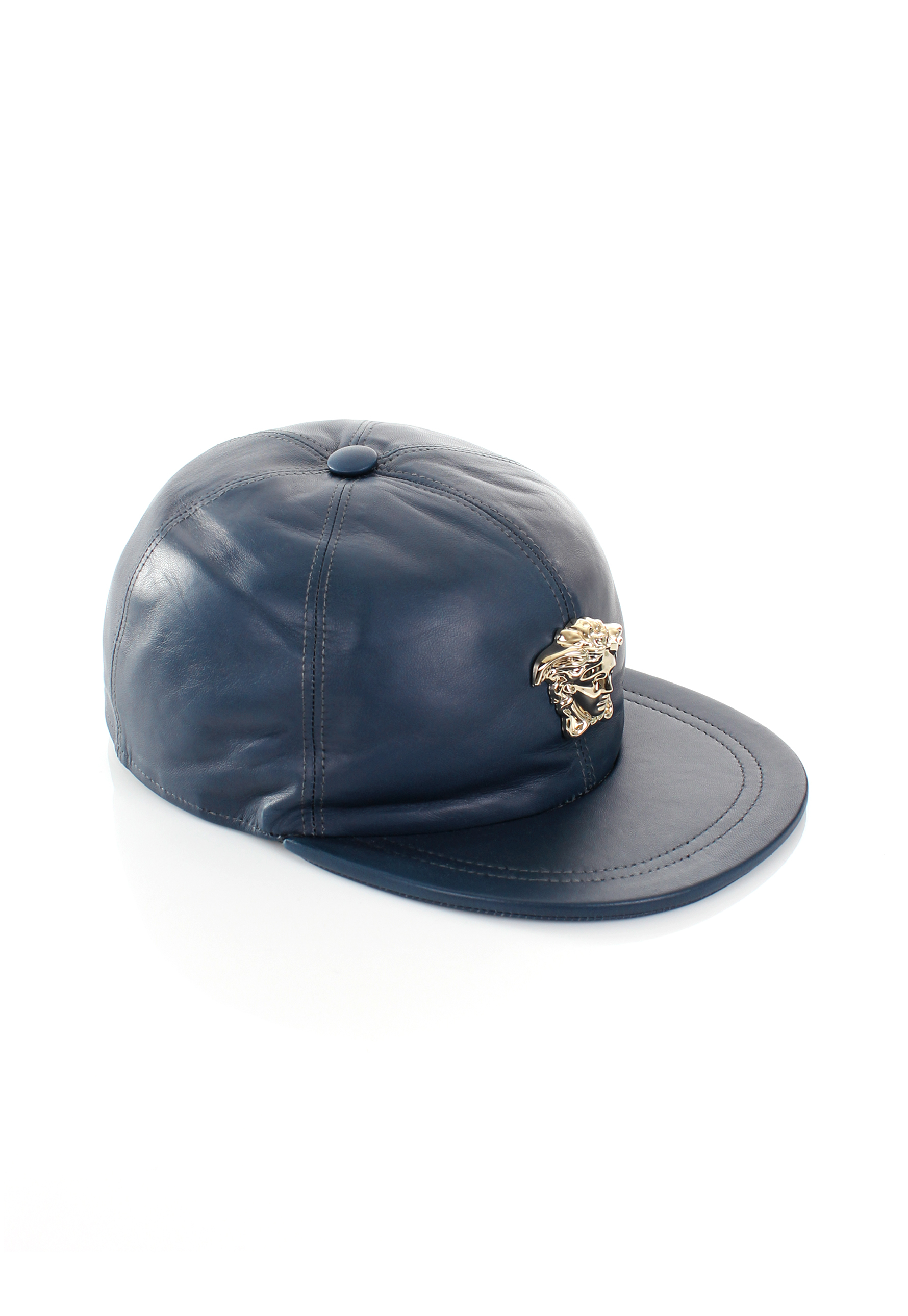 91a8c77b75d Lyst - Versace Gold Medusa Leather Cap Blue in Blue for Men