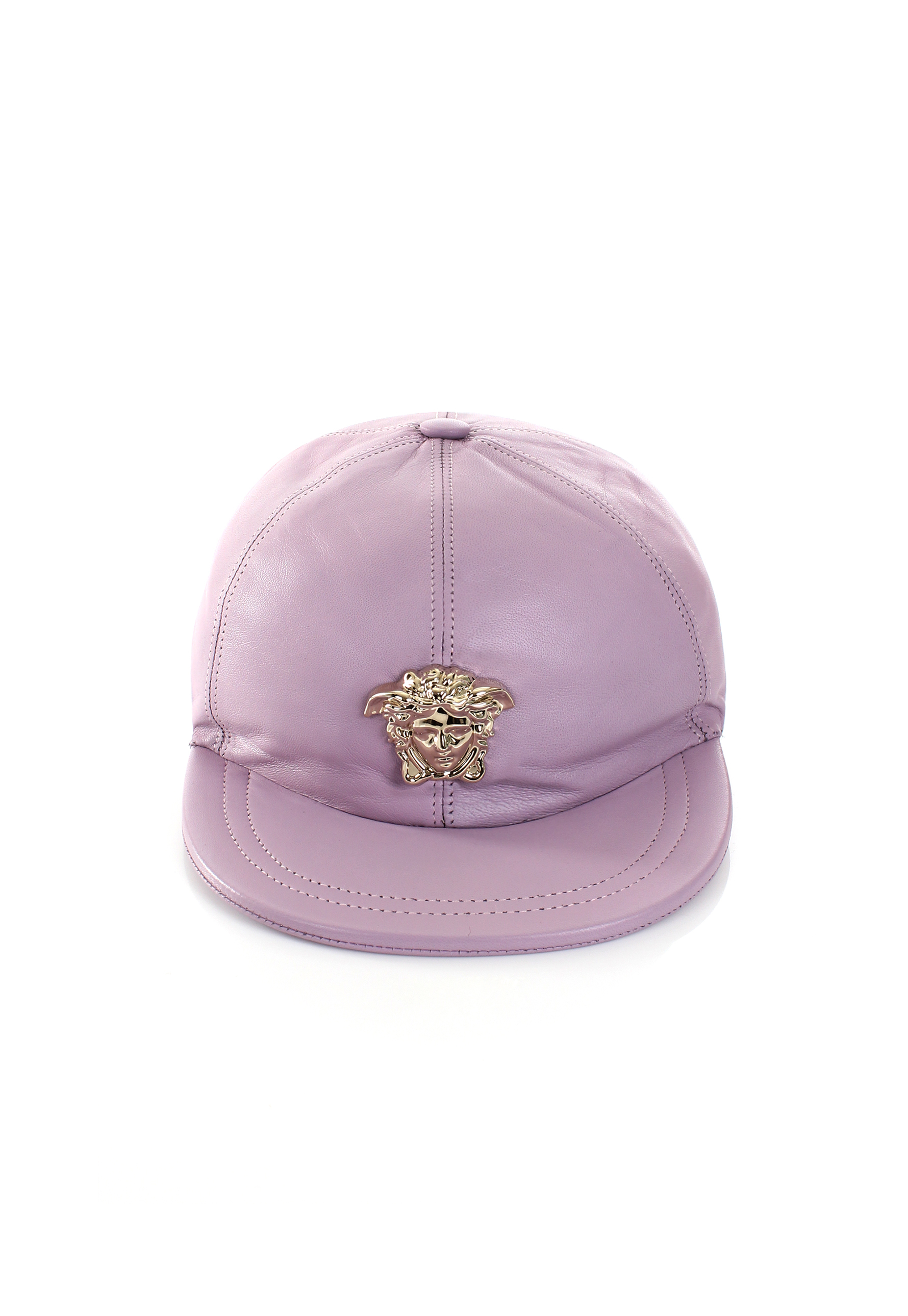 1feb91d76c5 Lyst - Versace Gold Medusa Leather Cap Pink in Pink