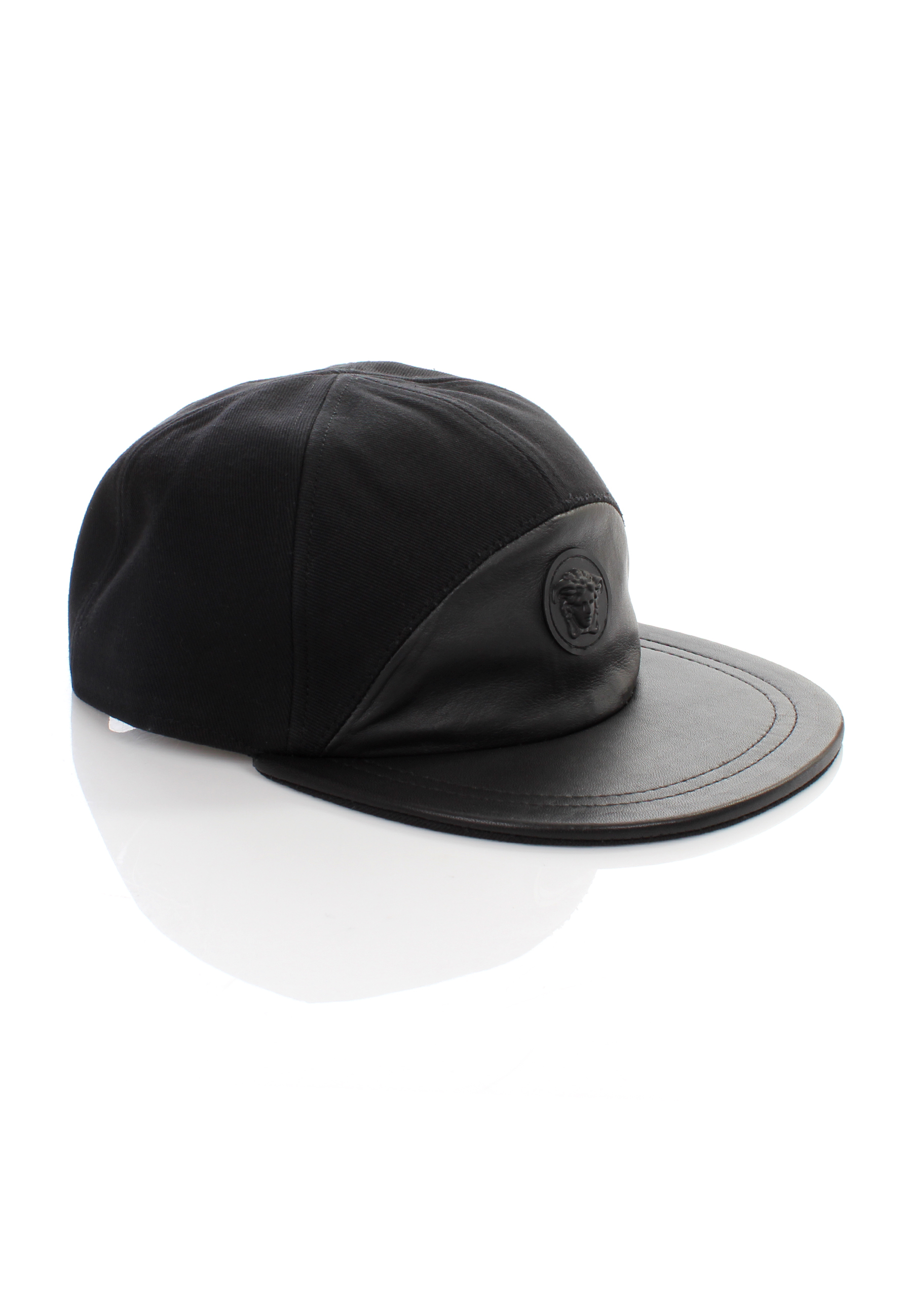 Versace Medusa Logo Half Leather Cap Nero in Black for Men - Lyst 1fd98c0076e