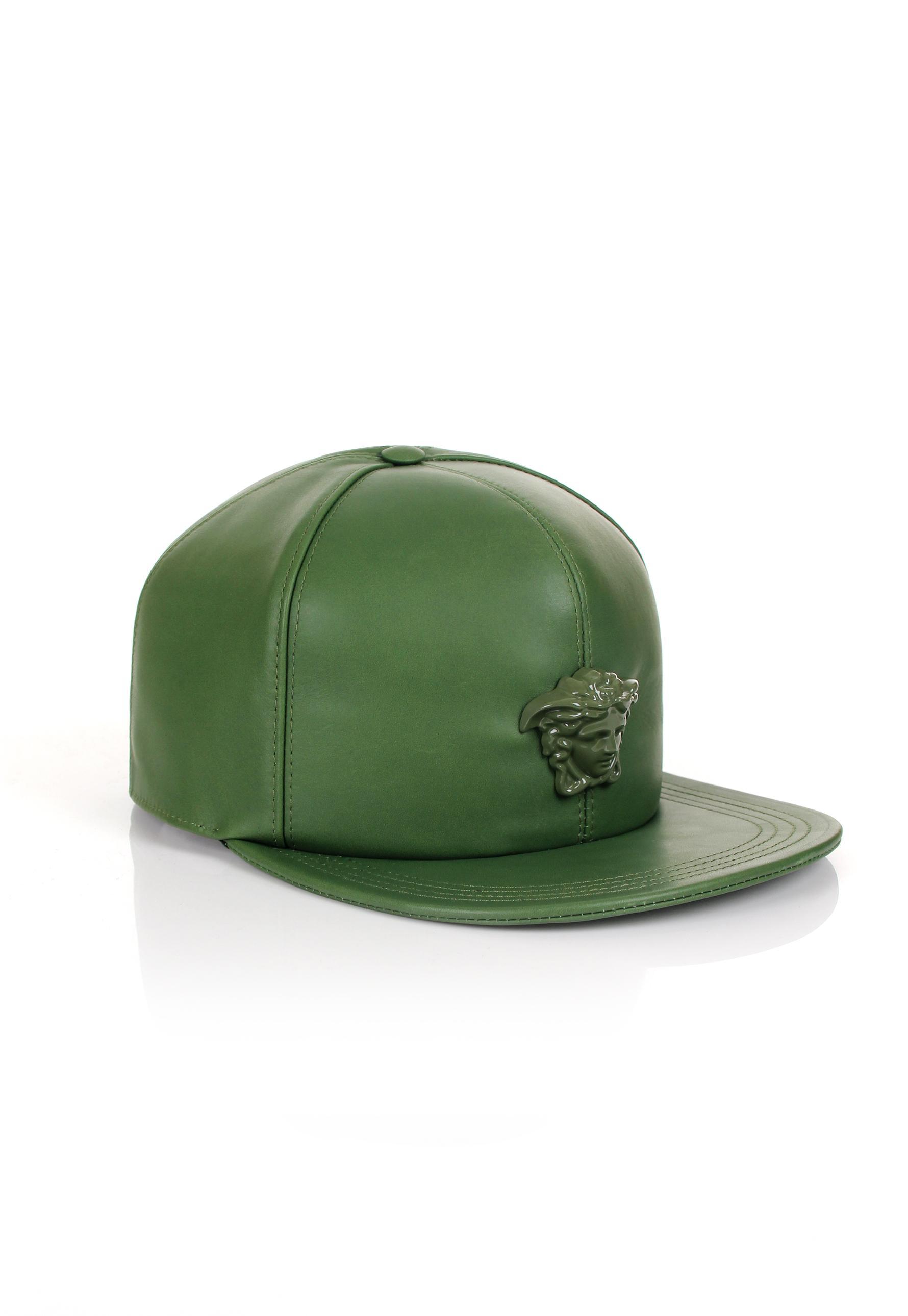f32d9f7a35c ... hot versace medusa logo leather show cap khaki khaki in green for men  lyst 035f8 f4616