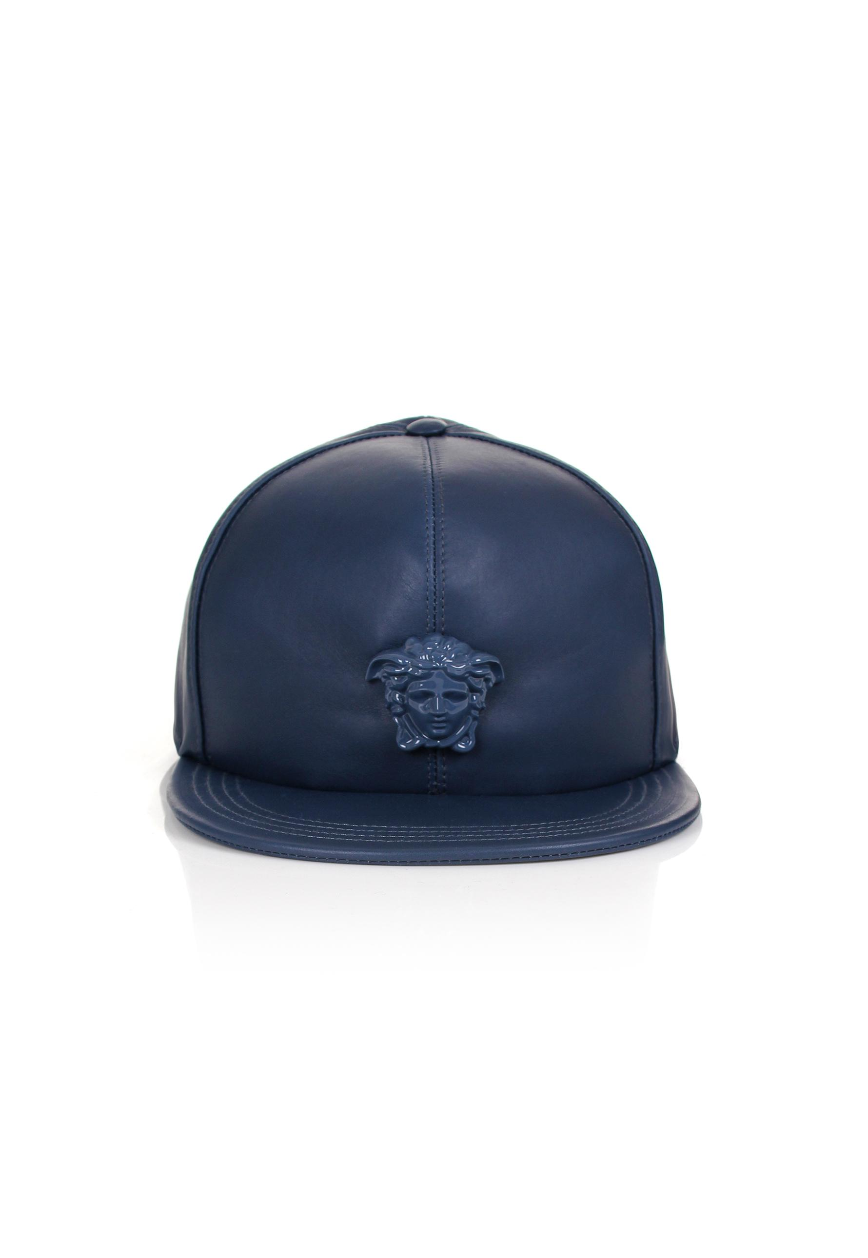 f4b07e685d7 Lyst - Versace Medusa Logo Leather Show Cap Navy navy in Blue for Men