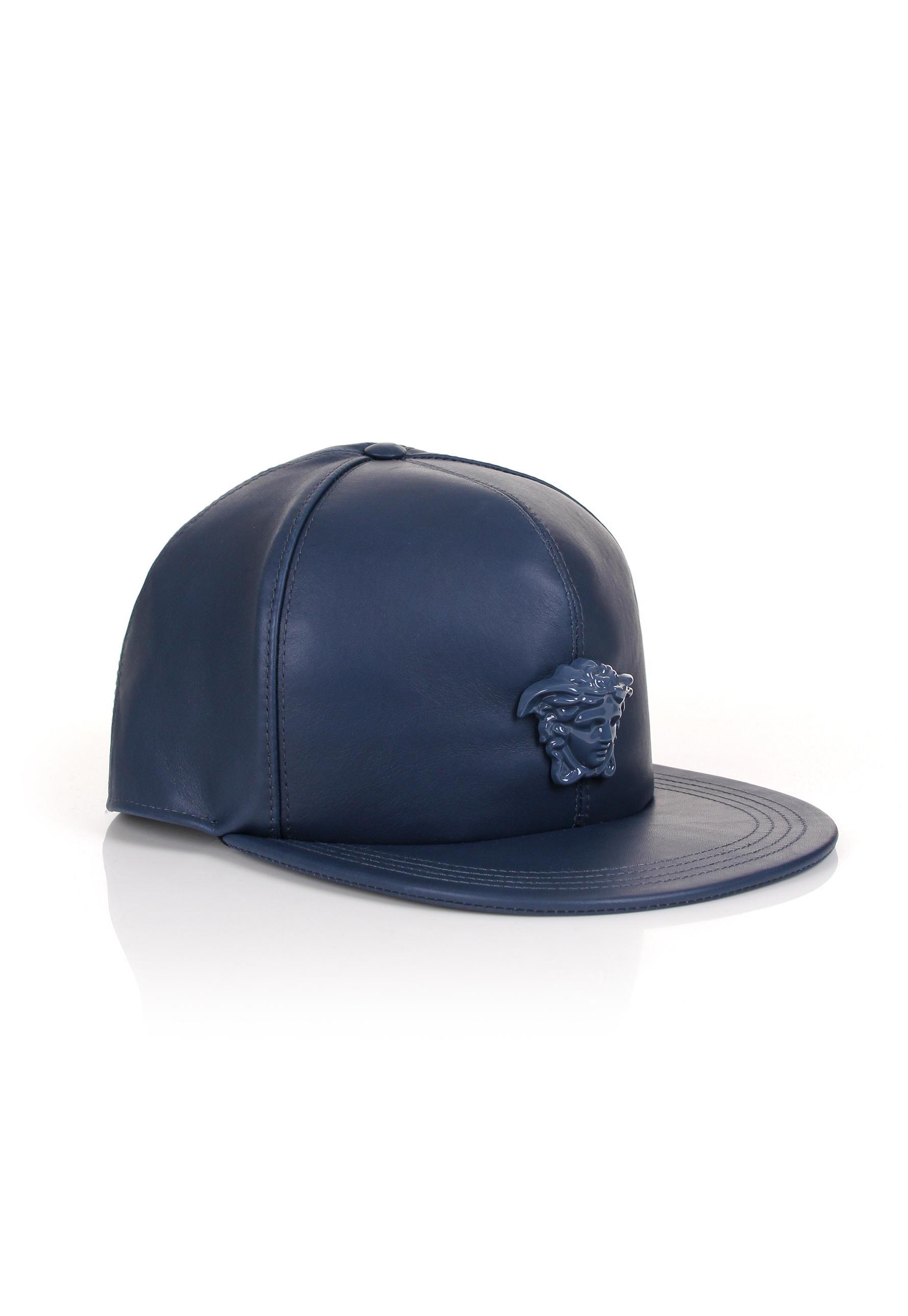 Lyst - Versace Medusa Logo Leather Show Cap Navy navy in Blue for Men 6c36bee520d
