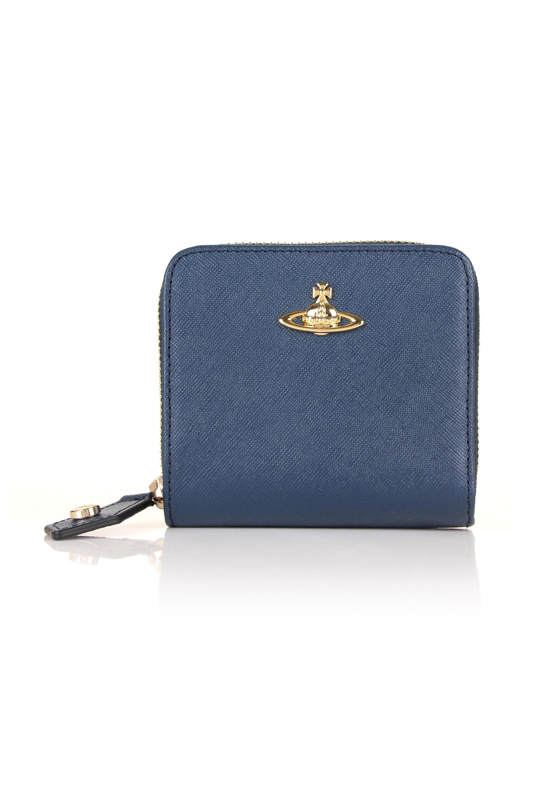 b74472f5e1f Vivienne Westwood Opio Saffiano 321408 Medium Zip Around Wallet Blue ...