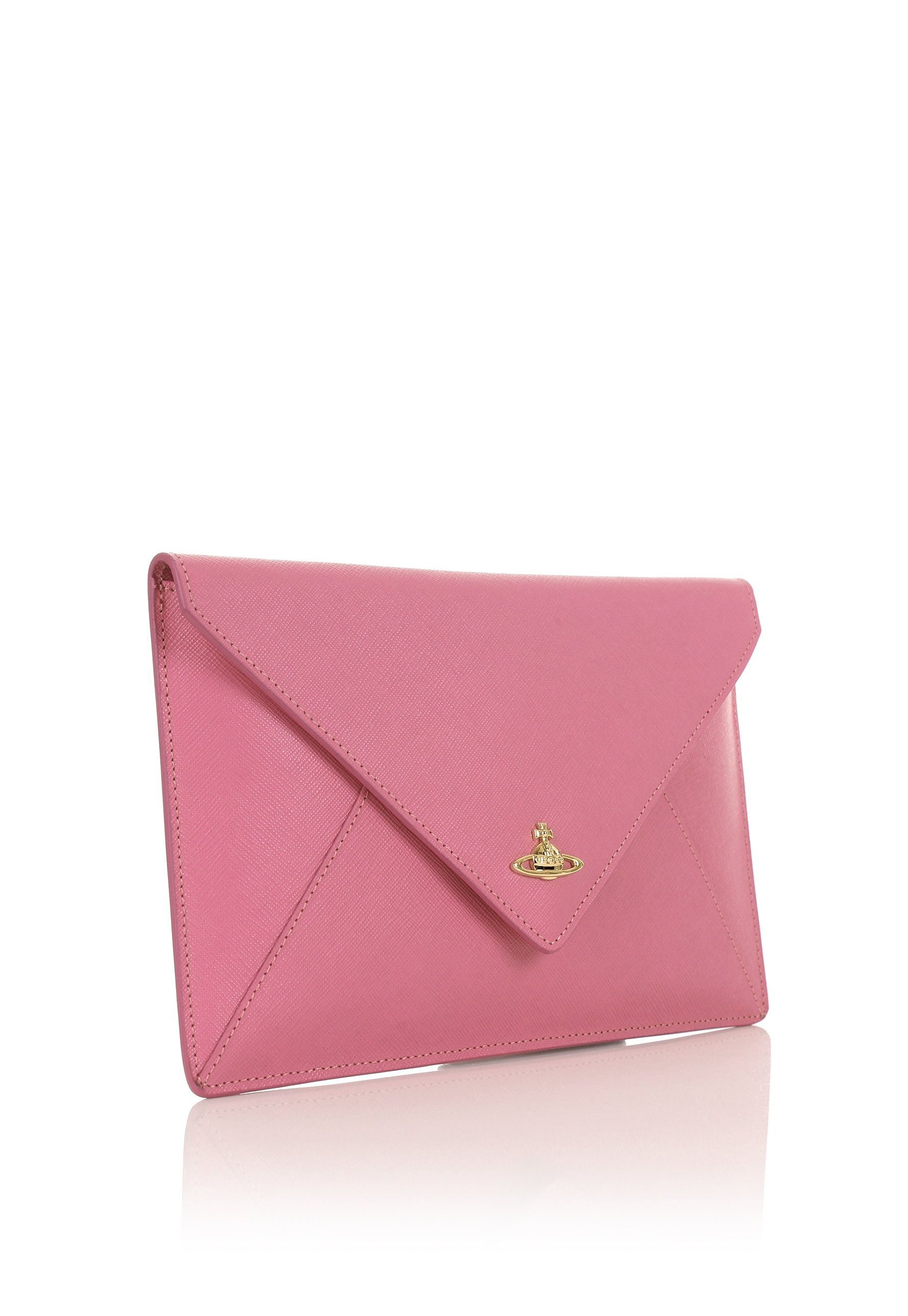 cf0e71f6c49eb Vivienne Westwood Pink Saffiano Leather Clutch in Pink - Lyst