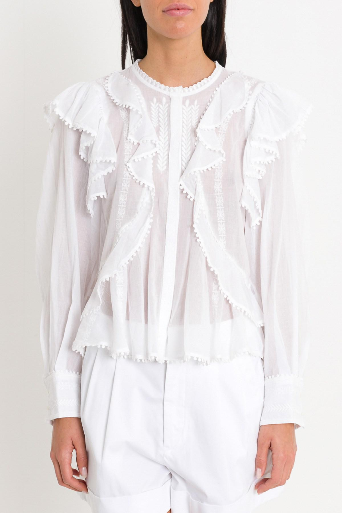 fb731b3e5de73 Lyst - Étoile Isabel Marant Alea Shirt With Furrles And Embroideries ...