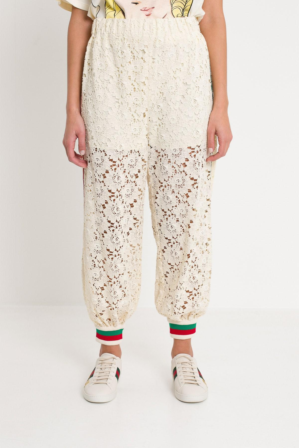 944df7b1fae2 Lyst - Gucci Flower Lace Jogging Pant in Natural