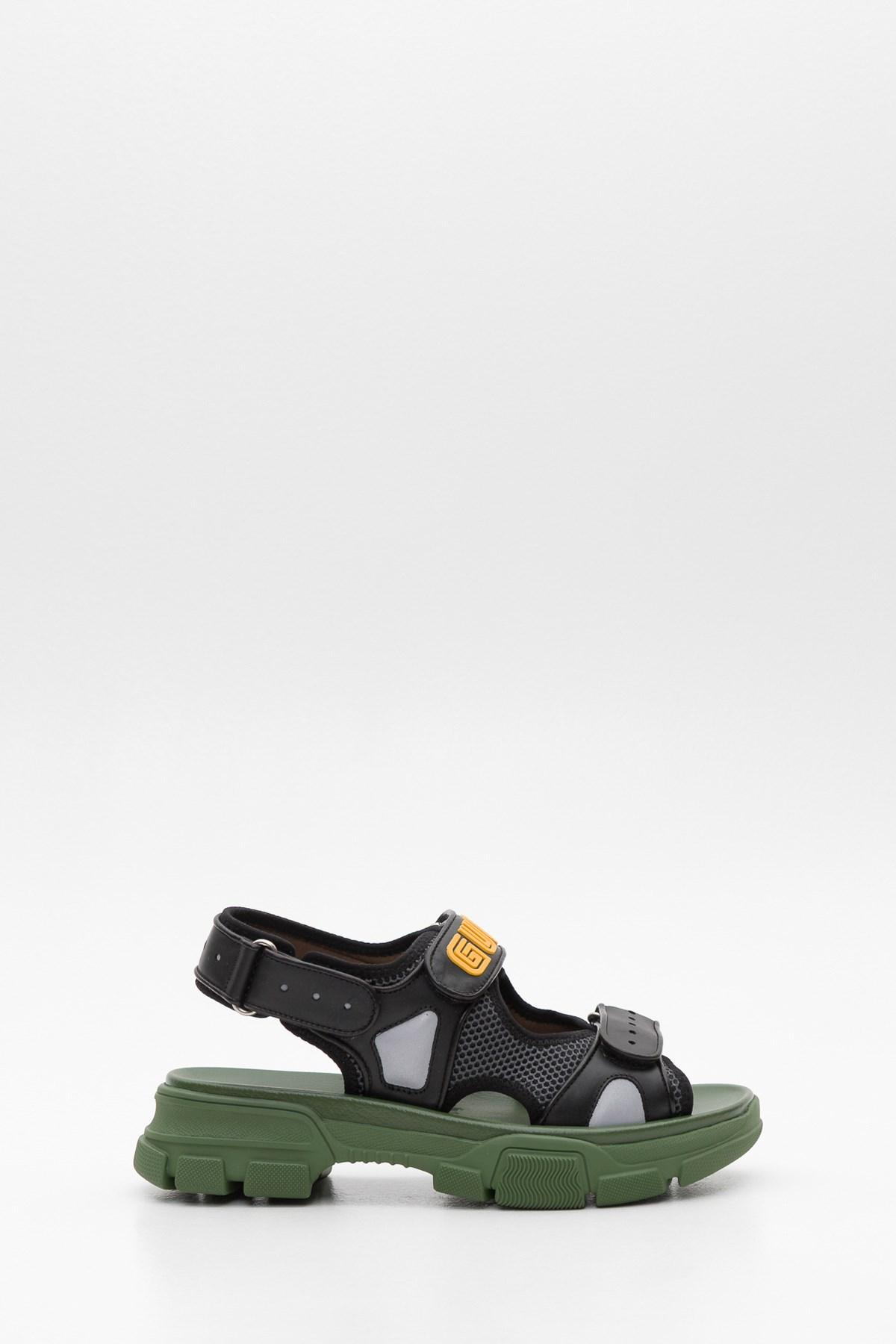 9fca3d1cc58 Lyst - Gucci Leather And Mesh Sandal in Black for Men