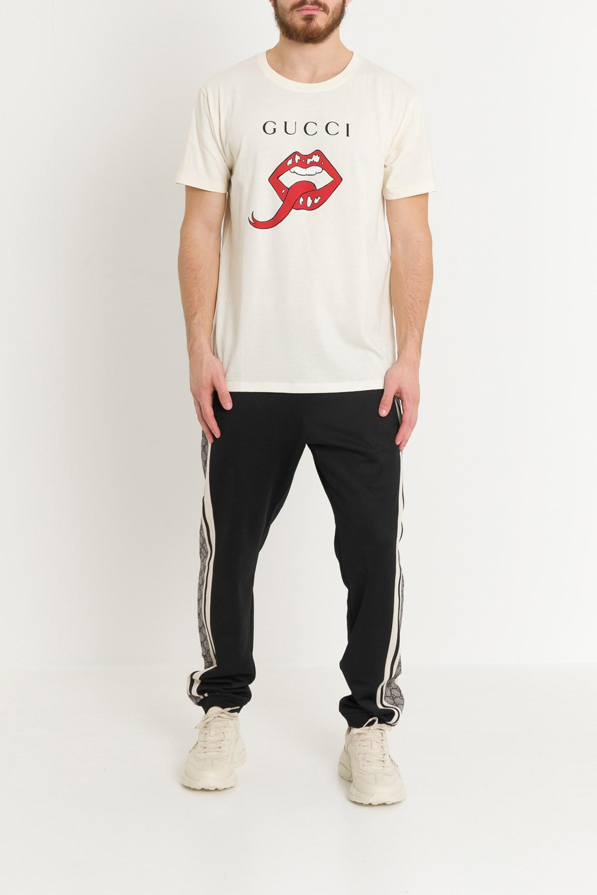 3d3b976ba32 Lyst - Gucci Oversized T-shirt With Mouth for Men