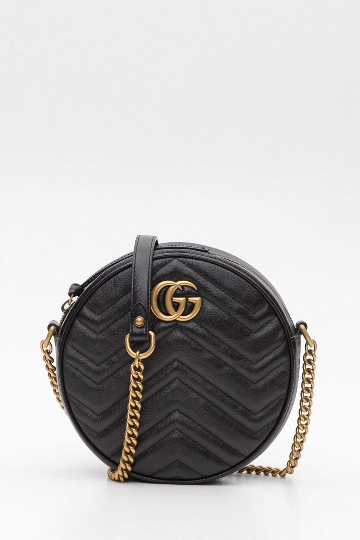 434463320a610b Gucci Gg Marmont Mini Round Shoulder Bag in Black - Lyst