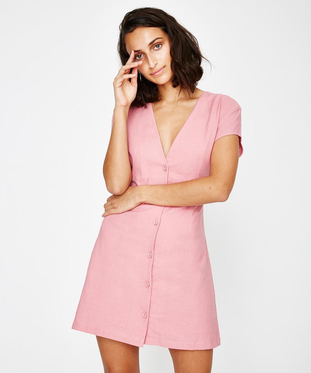 16ba99491e Alice In The Eve Natalie Linen Ruffle Skater Dress Rose in Pink - Lyst