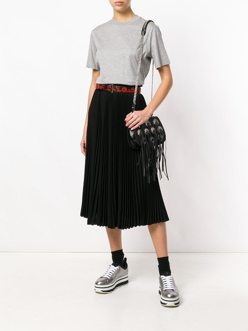 Black Floral Prada Lyst Bag Saddle Appliquéd vdBqA