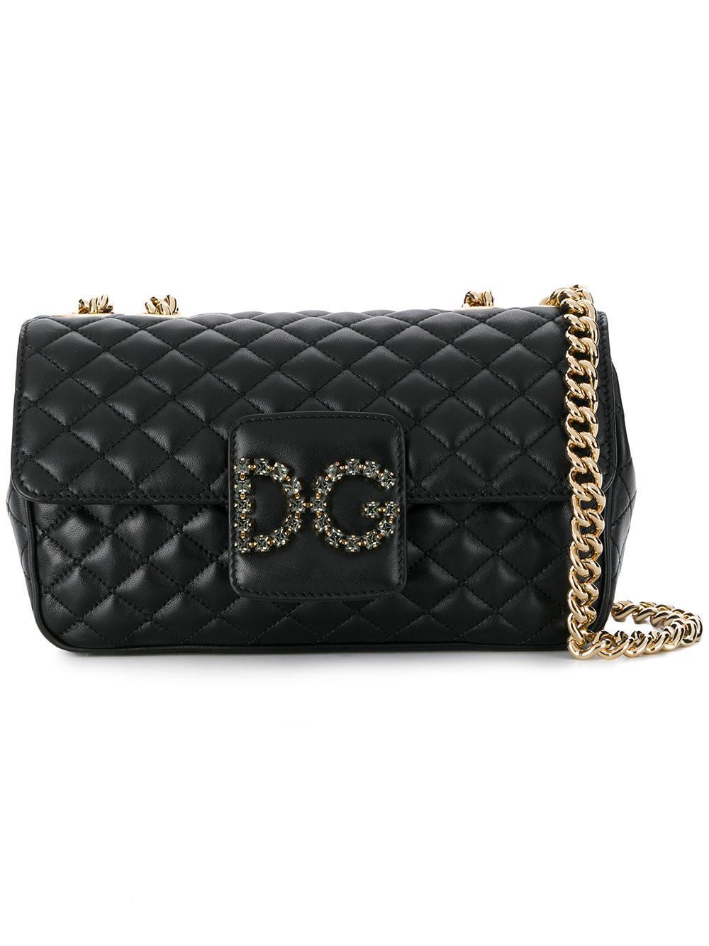 ede3b6da50d6 Dolce   Gabbana Quilted Logo Shoulder Bag in Black - Save ...