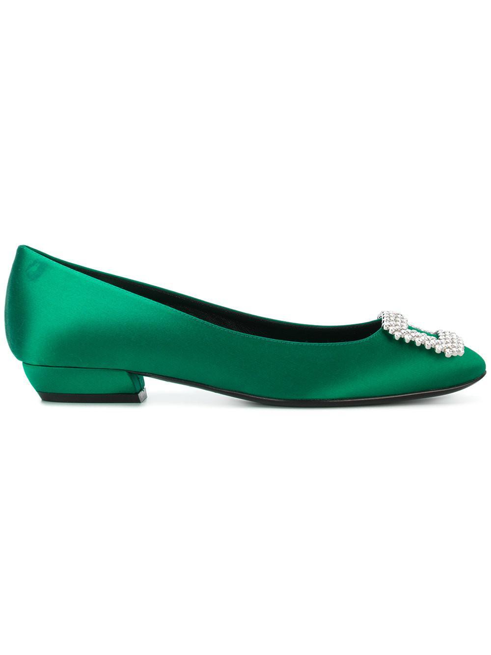 4c9130465 Lyst - Roger Vivier Embellished Buckle Ballerina Shoes in Green ...