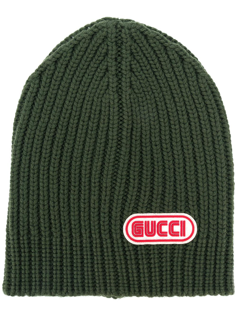 b6296d51 Gucci Logo Patch Beanie in Green for Men - Lyst