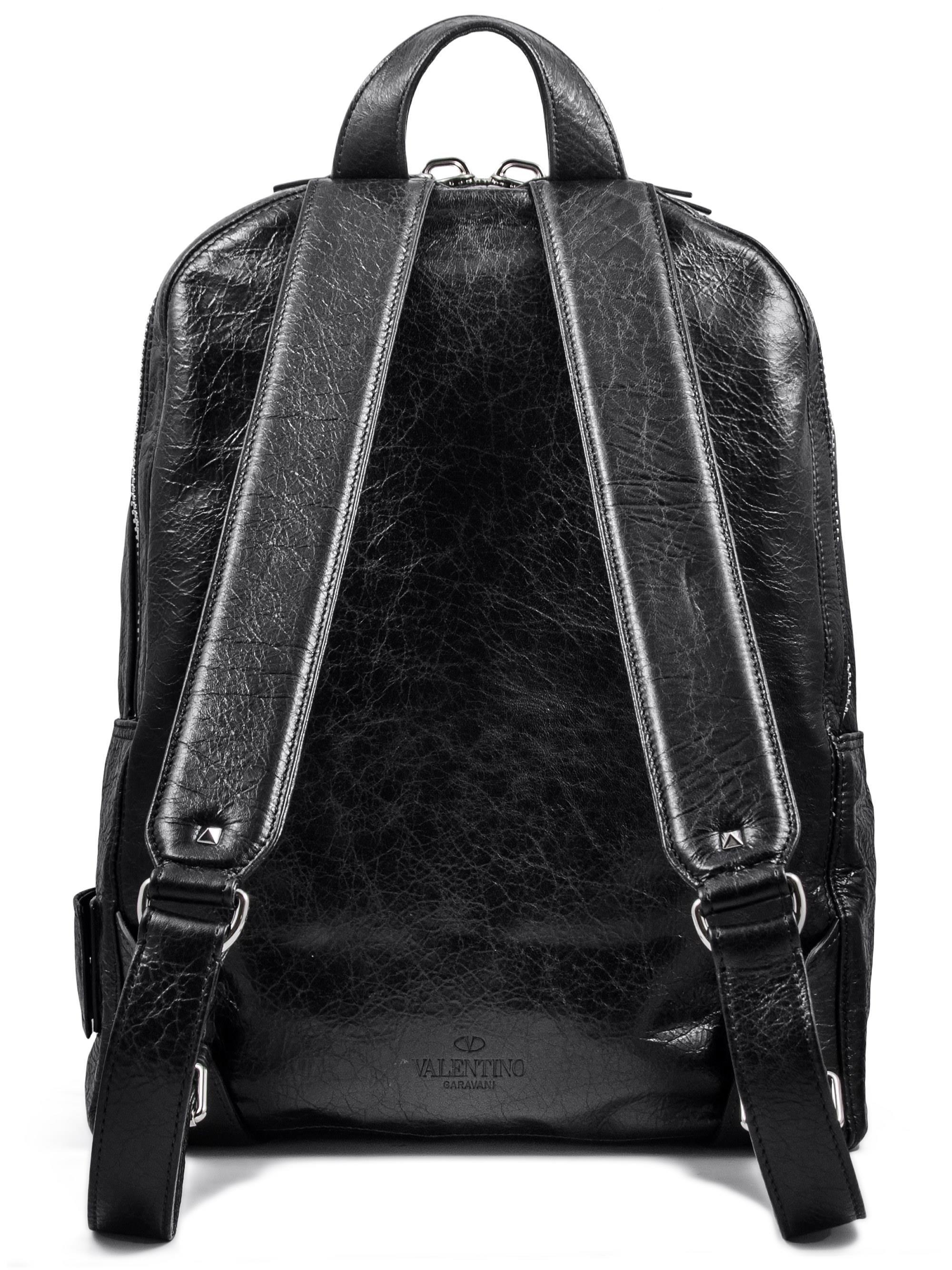 f24efebcab3 Valentino V-punk Leather Backpack in Black for Men - Lyst