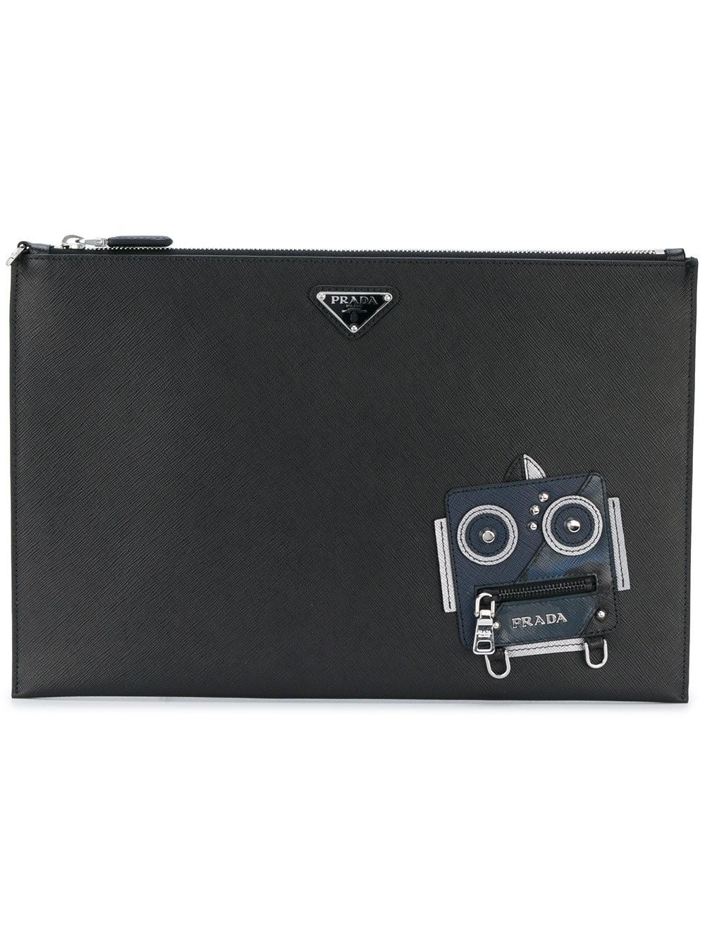 d7bedaafb717 Lyst - Prada Robot Saffiano Clutch Bag in Black for Men