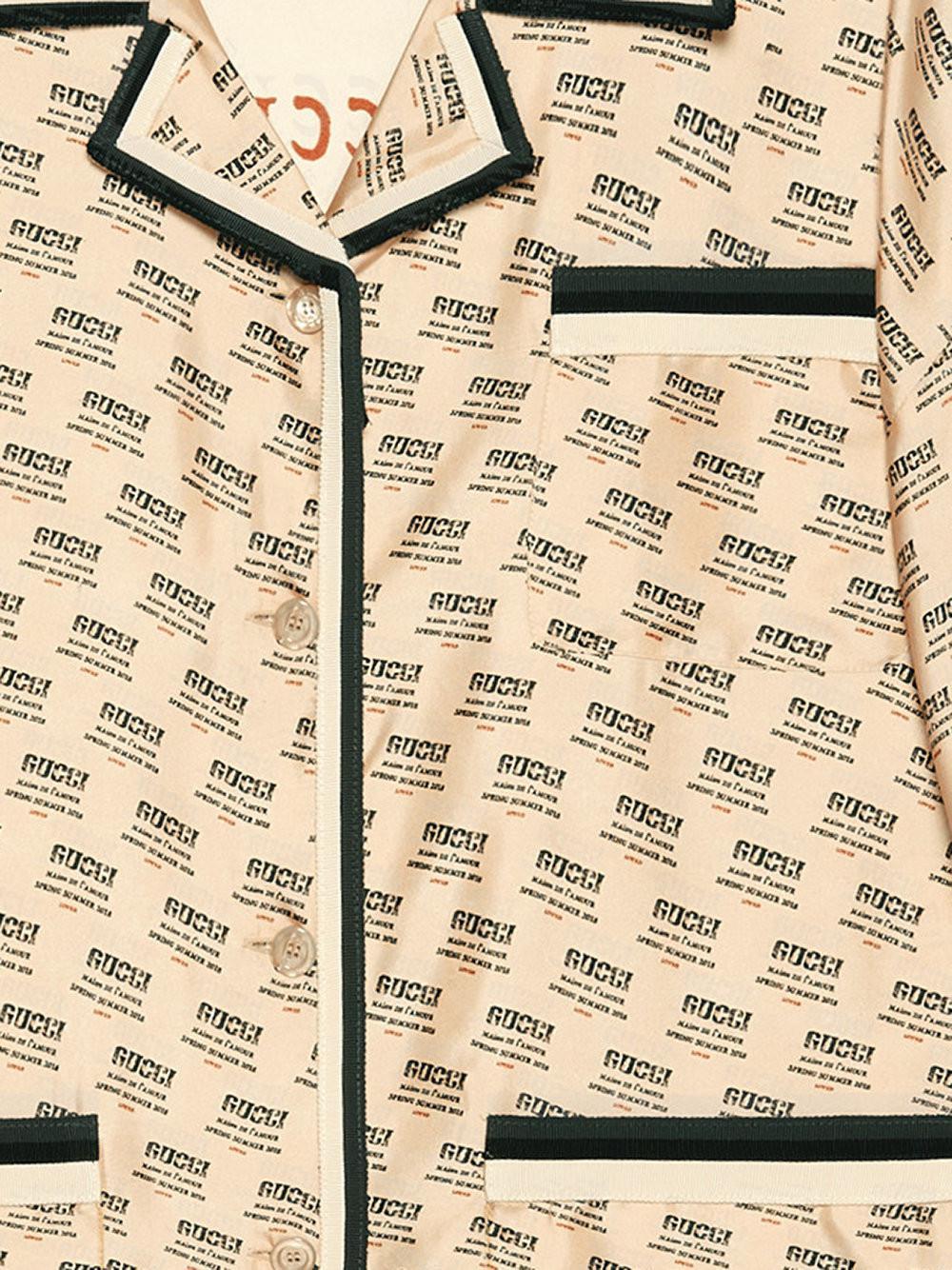 d3538e8f4f1 Gucci - Multicolor Invite Stamp Silk Shirt - Lyst. View fullscreen