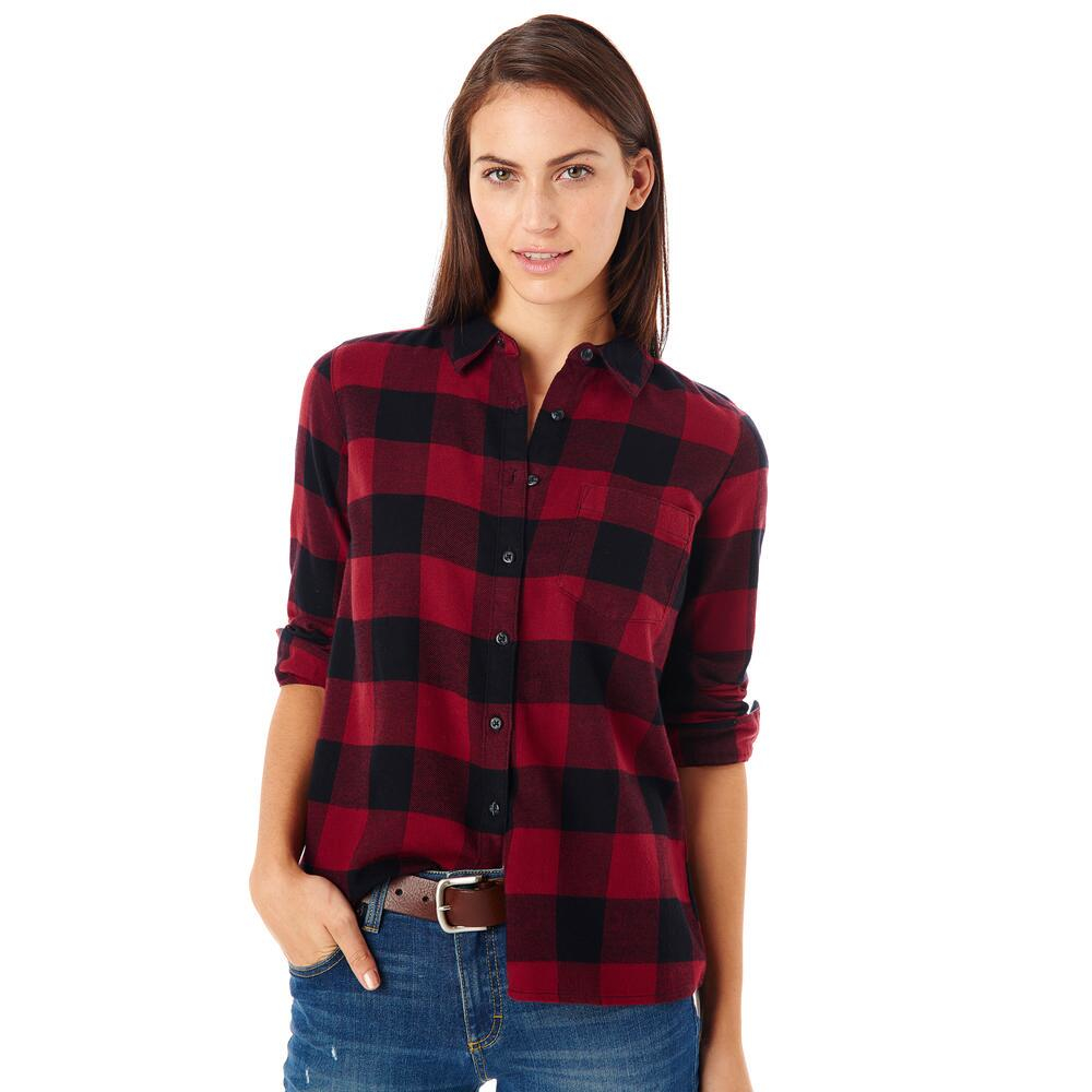 G h bass co buffalo check flannel shirt in red lyst for Buffalo check flannel shirt