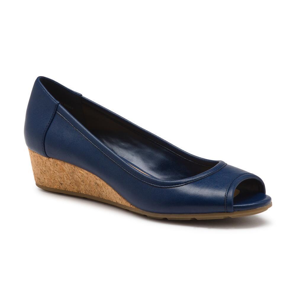5b8358697612 Lyst - G.H.BASS Makenna Peep Toe Wedge in Blue