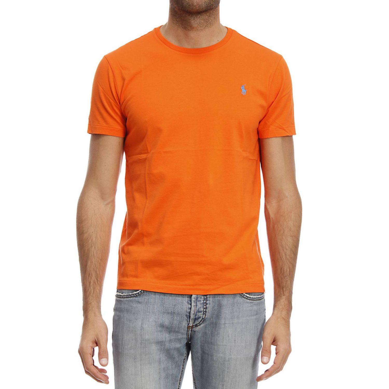 Polo ralph lauren t shirt in orange for men lyst for Orange polo shirt mens