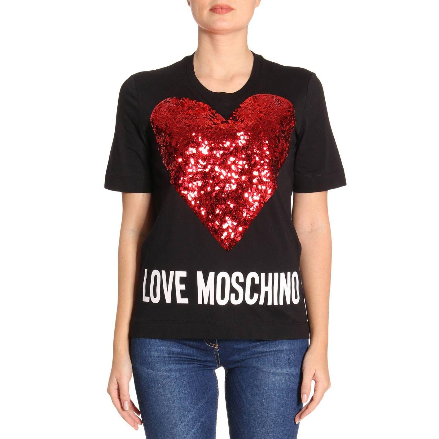 love moschino t shirt women in black lyst. Black Bedroom Furniture Sets. Home Design Ideas