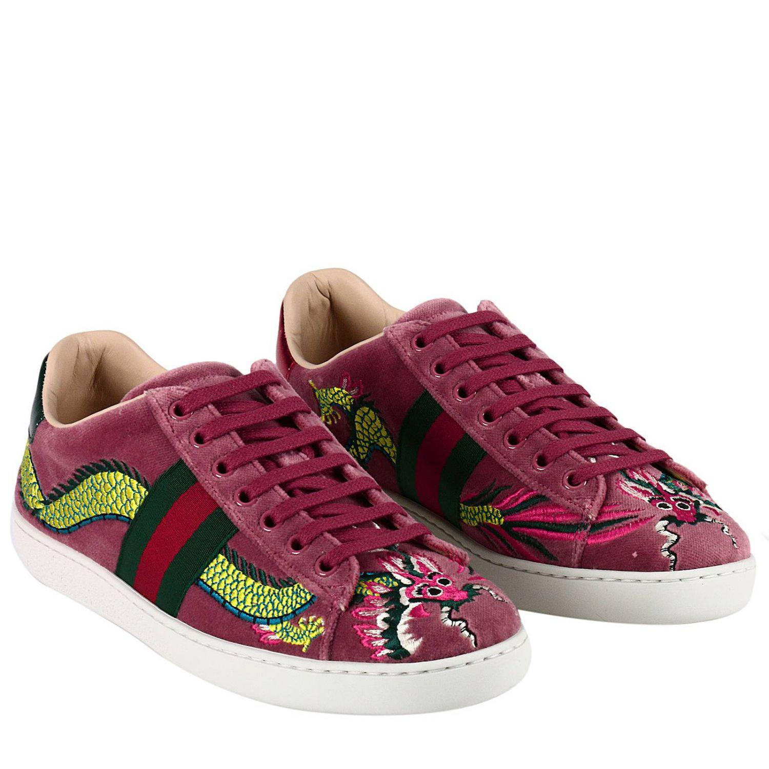 2c7973232 Gucci Velvet New Ace Sneaker With Side Web Bands And Dragon ...