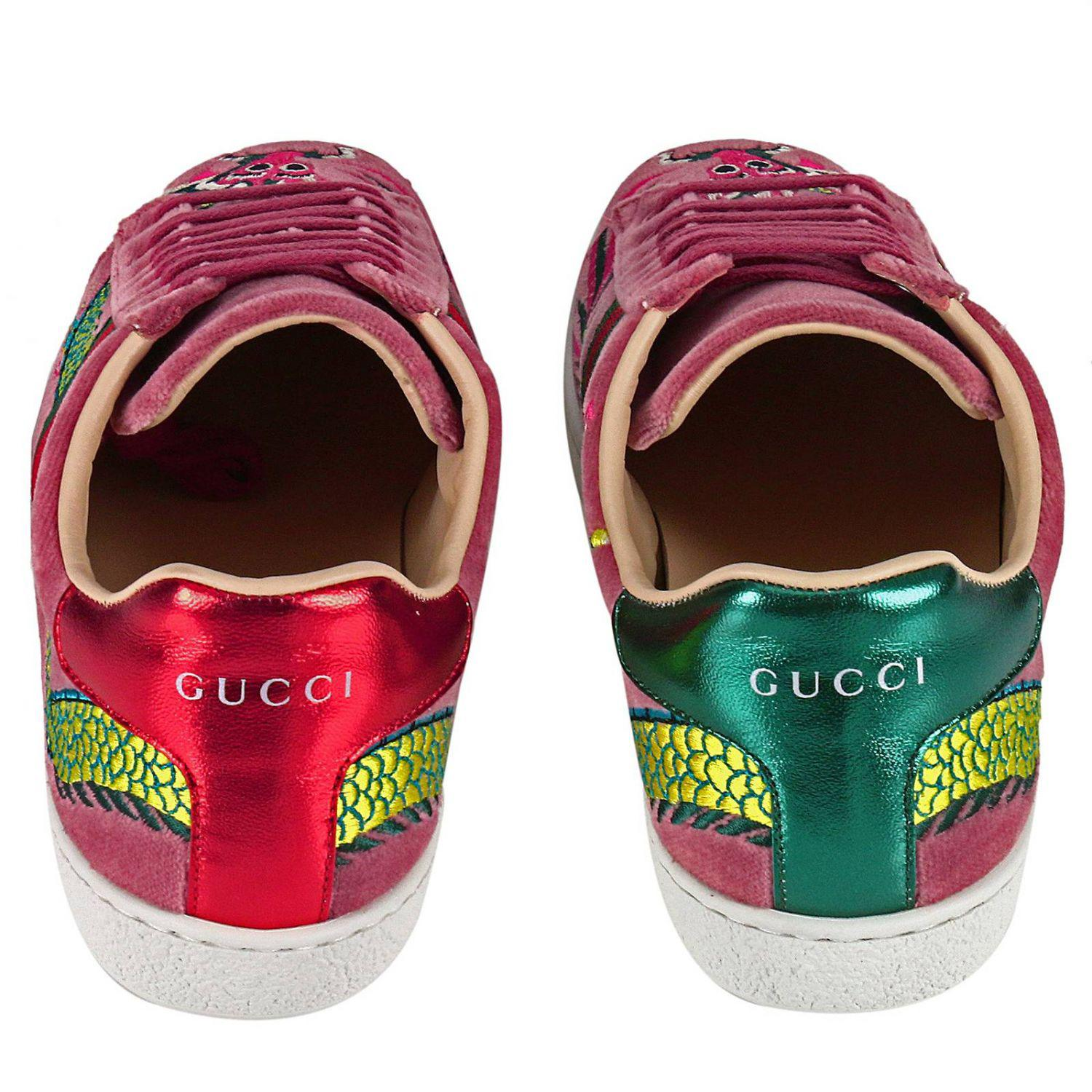 e7c46cf3dc7e Lyst - Gucci Velvet New Ace Sneaker With Side Web Bands And Dragon ...