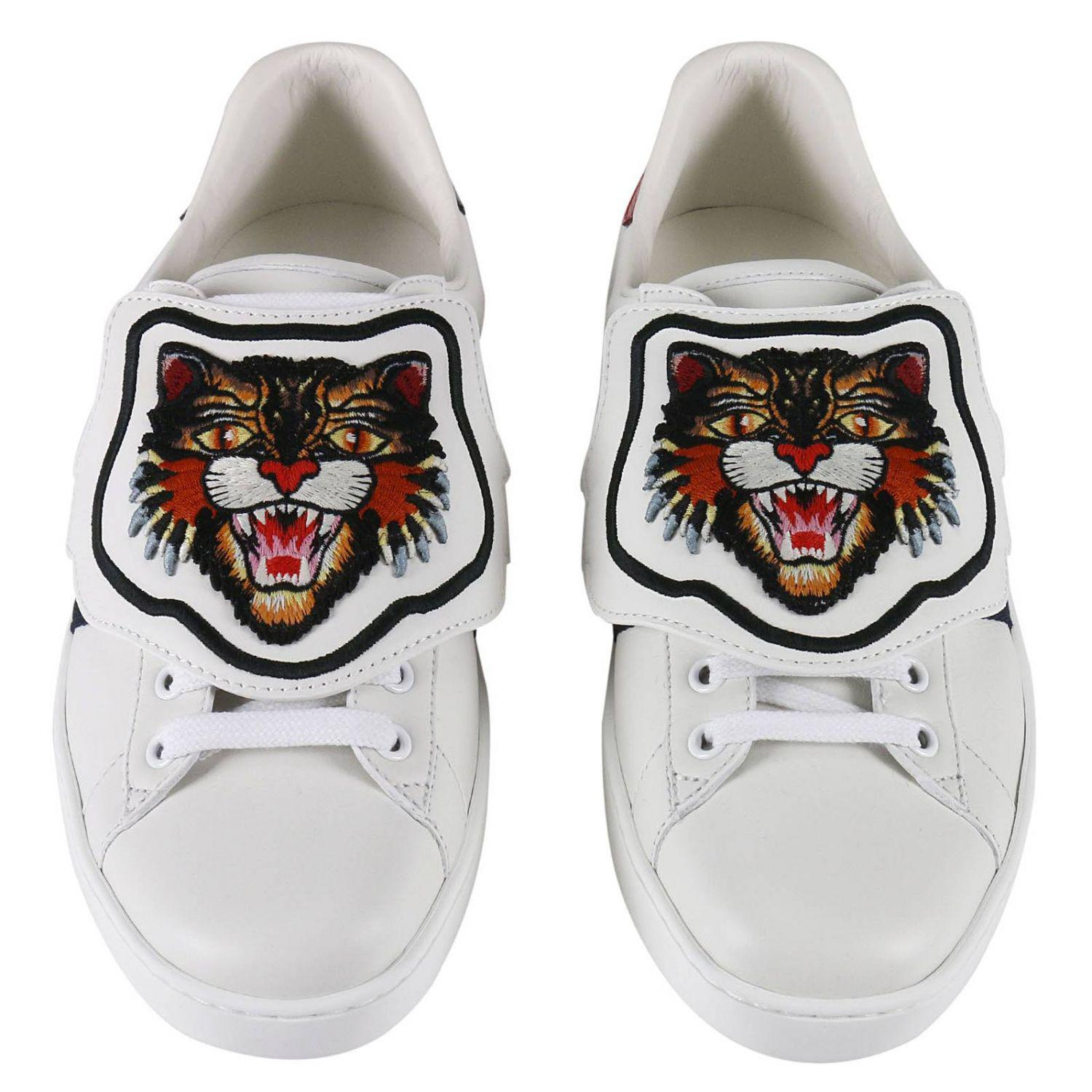 8fed140be Gucci Ace Sneakers With Embroidered Angry Cat Removable Patches And ...