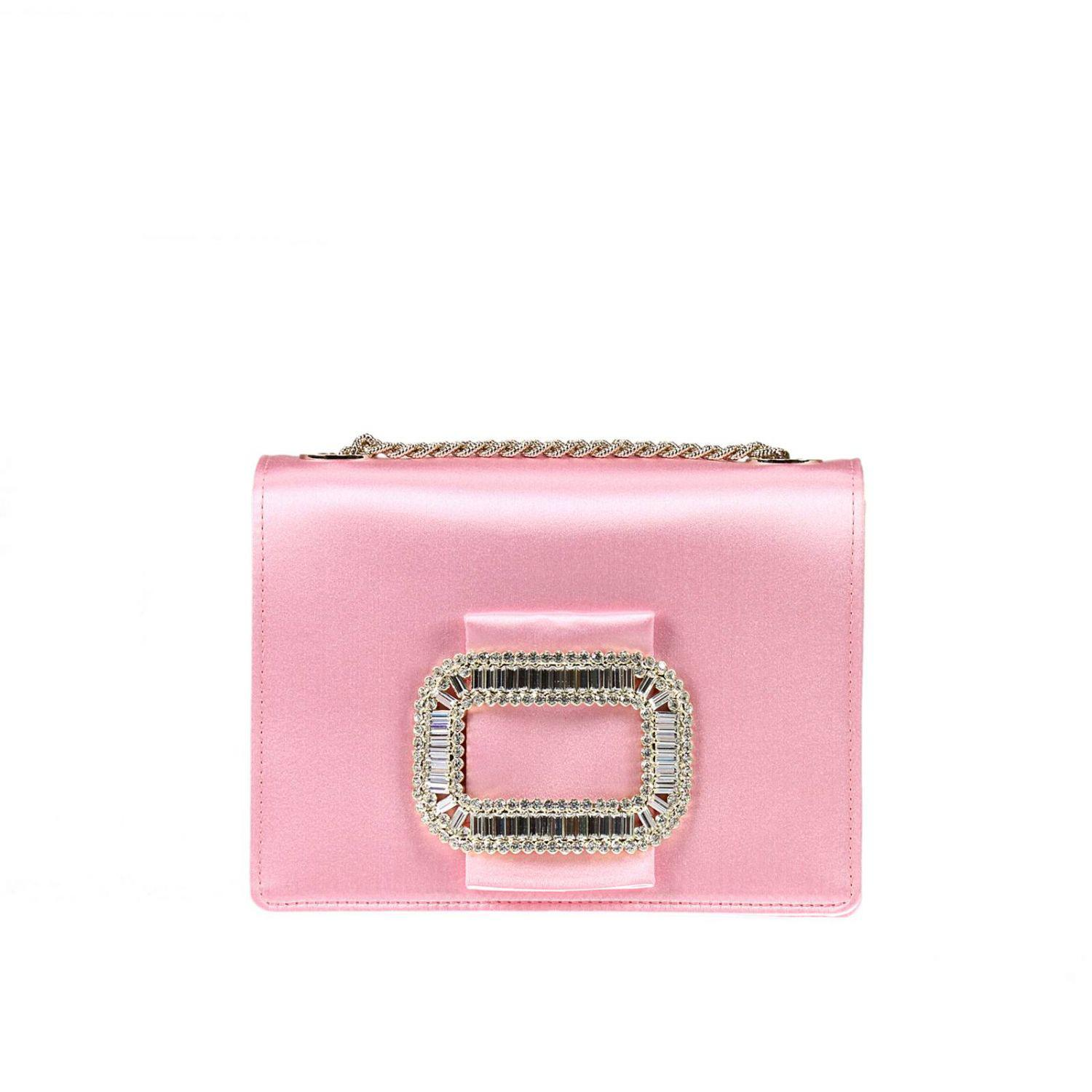 Lyst - Roger Vivier Satin Crystal-Buckle Chain Strap Clutch in Pink 271e1e1943