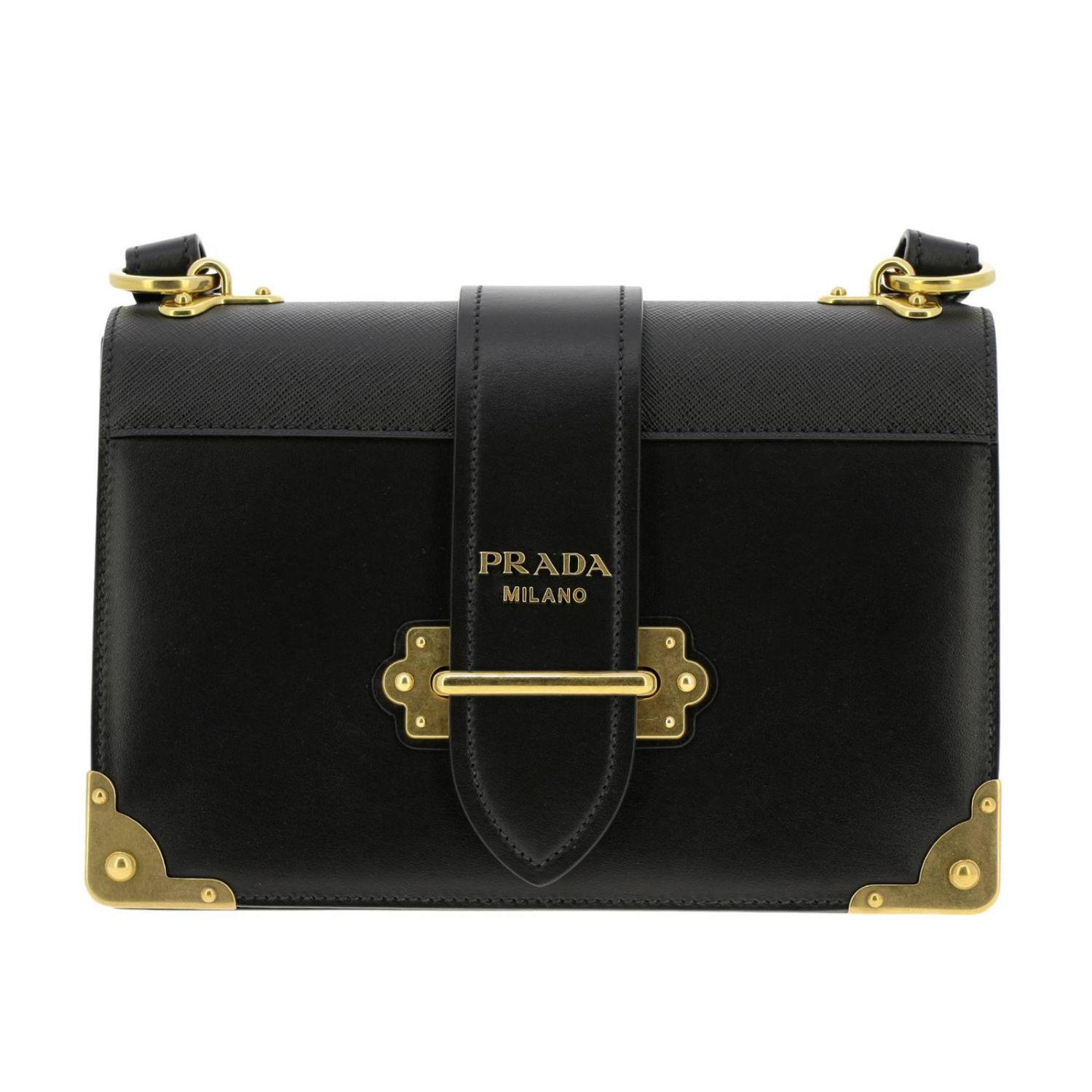 02fdb9d446b1 Prada - Black Cahier Bag In Genuine Smooth And Saffiano Leather With Maxi  Studs And Buckle. View fullscreen
